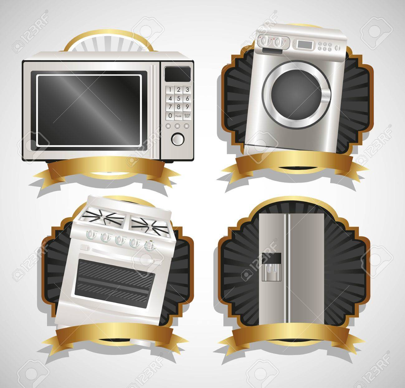 Set of Appliances, contains washing machine, stove, microwave and refrigerator Stock Vector - 14083181