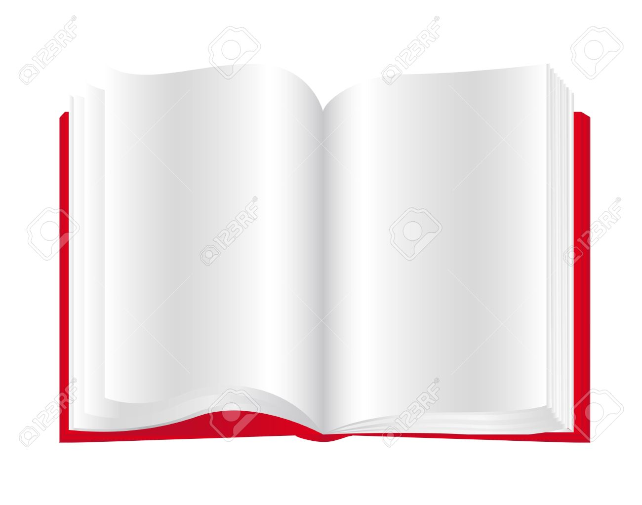 open book of blank pages with red paste royalty free cliparts