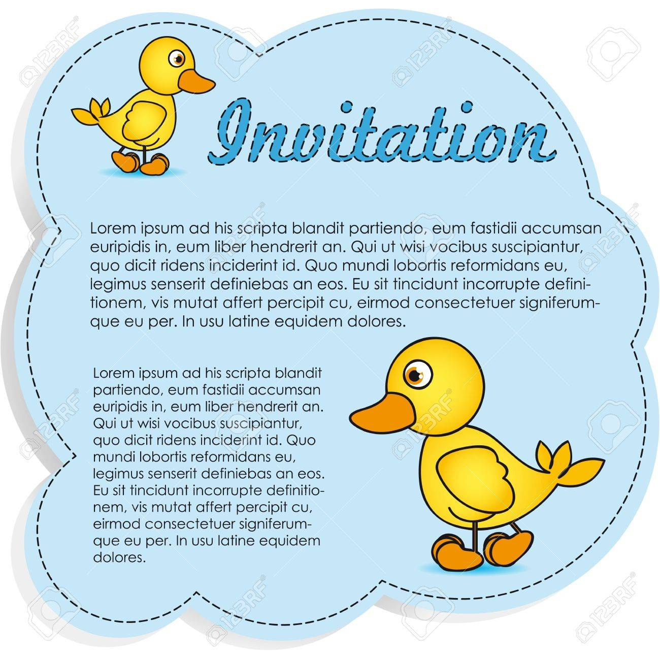 Invitation card blue with yellow ducks vector illustration royalty banco de imagens invitation card blue with yellow ducks vector illustration stopboris Image collections