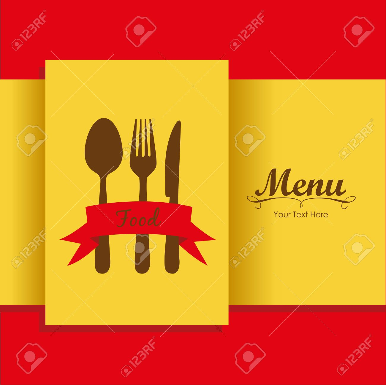 Elegant card for restaurant menu, with spoon, knife and fork vector illustration Stock Vector - 14345187