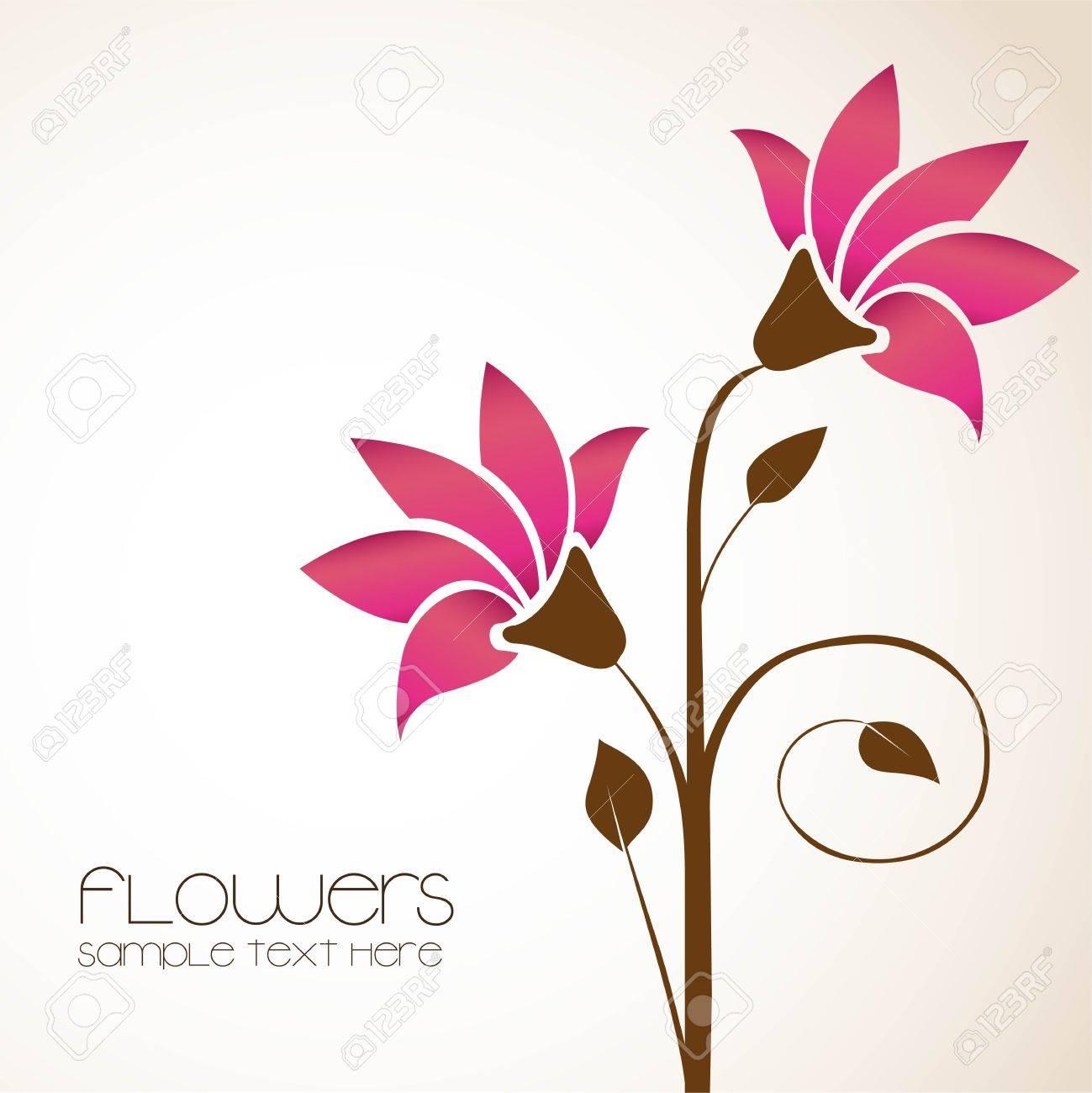 繊細な花イラスト シンプル背景のイラスト素材ベクタ Image 14381486