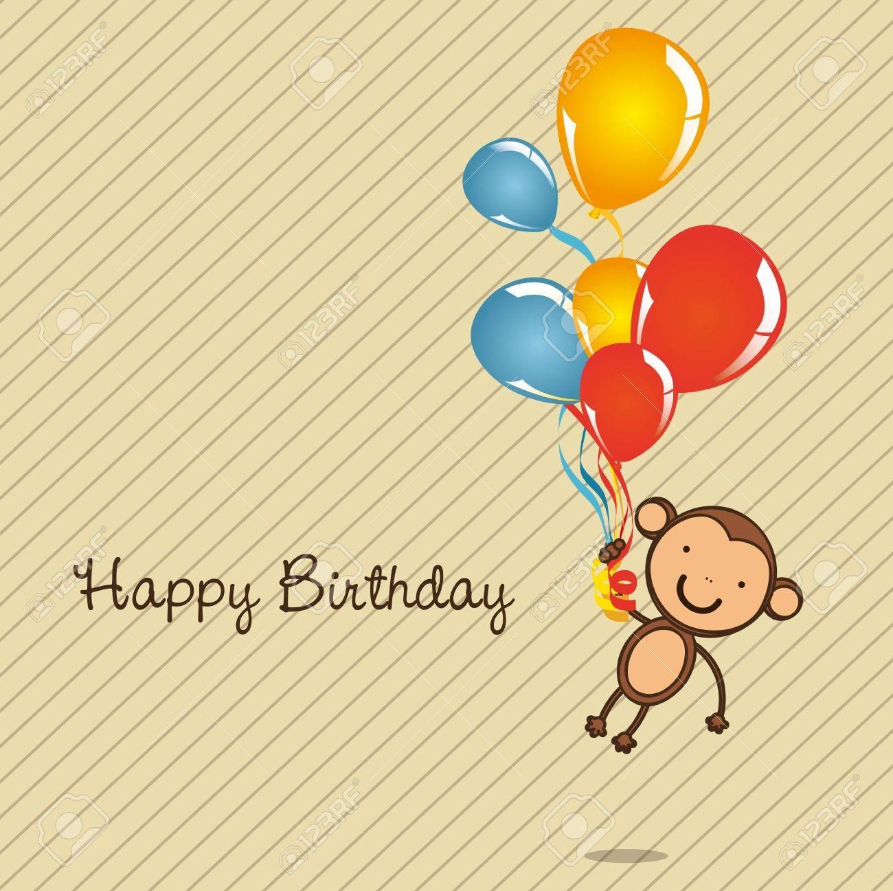 Monkey Birthday Card With Balloons Vector Illustration Stock
