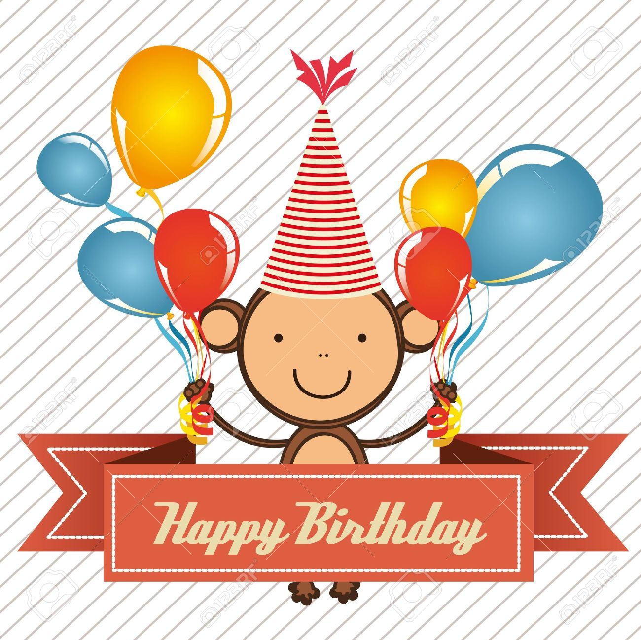vintage birthday card with monkey and balloons,  illustration Stock Vector - 14473010