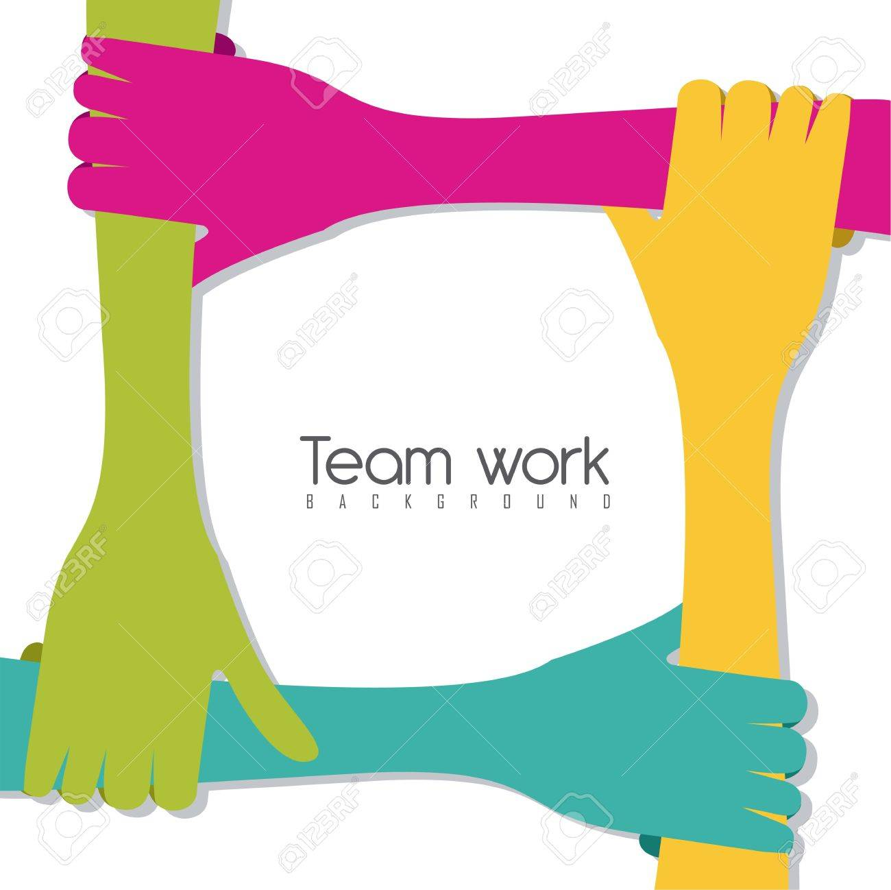 hands of different colors, cultural and ethnic diversity, team work. vector illustration Stock Vector - 14472998