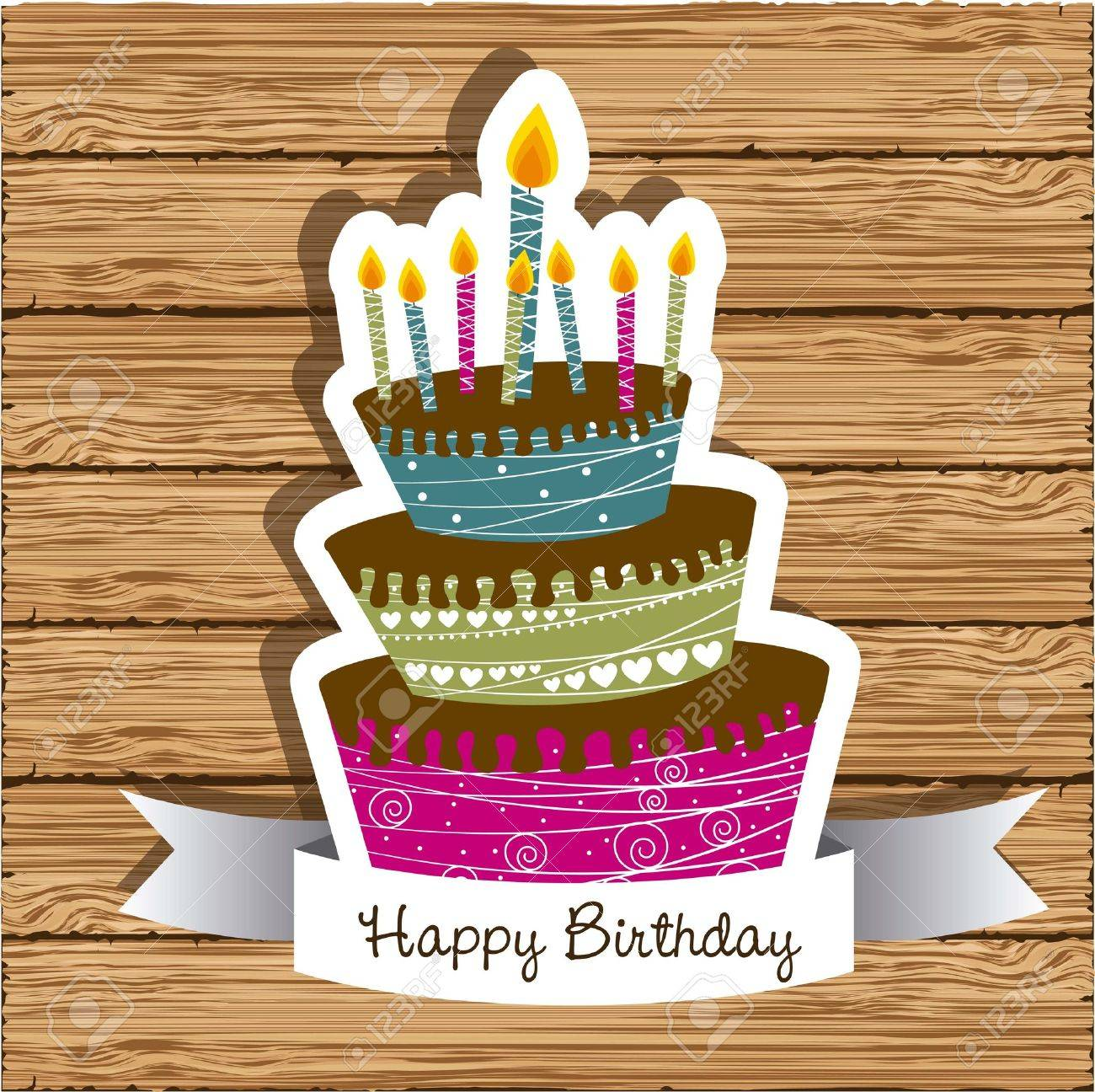 Birthday card with colored cake on wood background vector birthday card with colored cake on wood background vector illustration stock vector 14473398 kristyandbryce Image collections