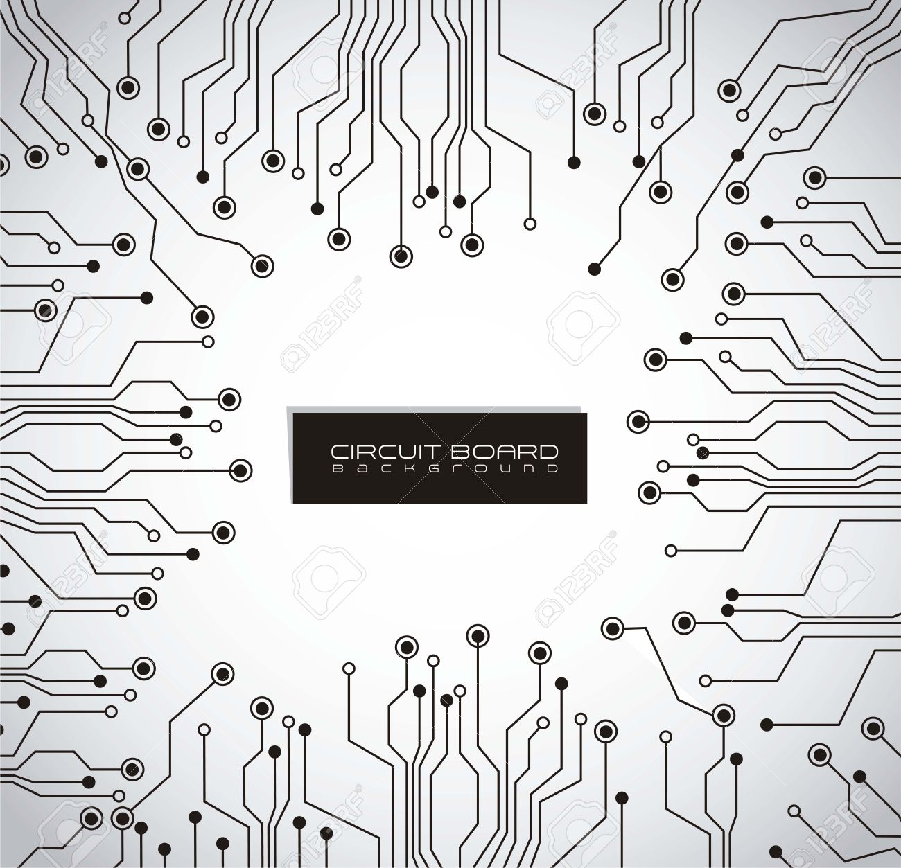 circuit board, gray gradient background Stock Vector - 14628039