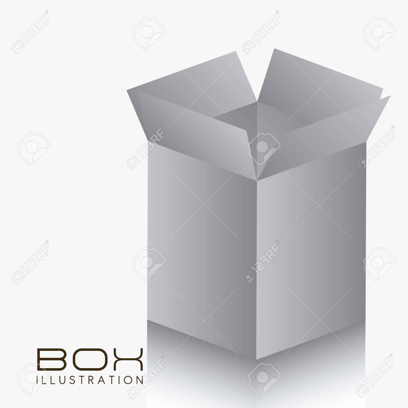 illustration of gray box on white background illustration Stock Vector - 14628020