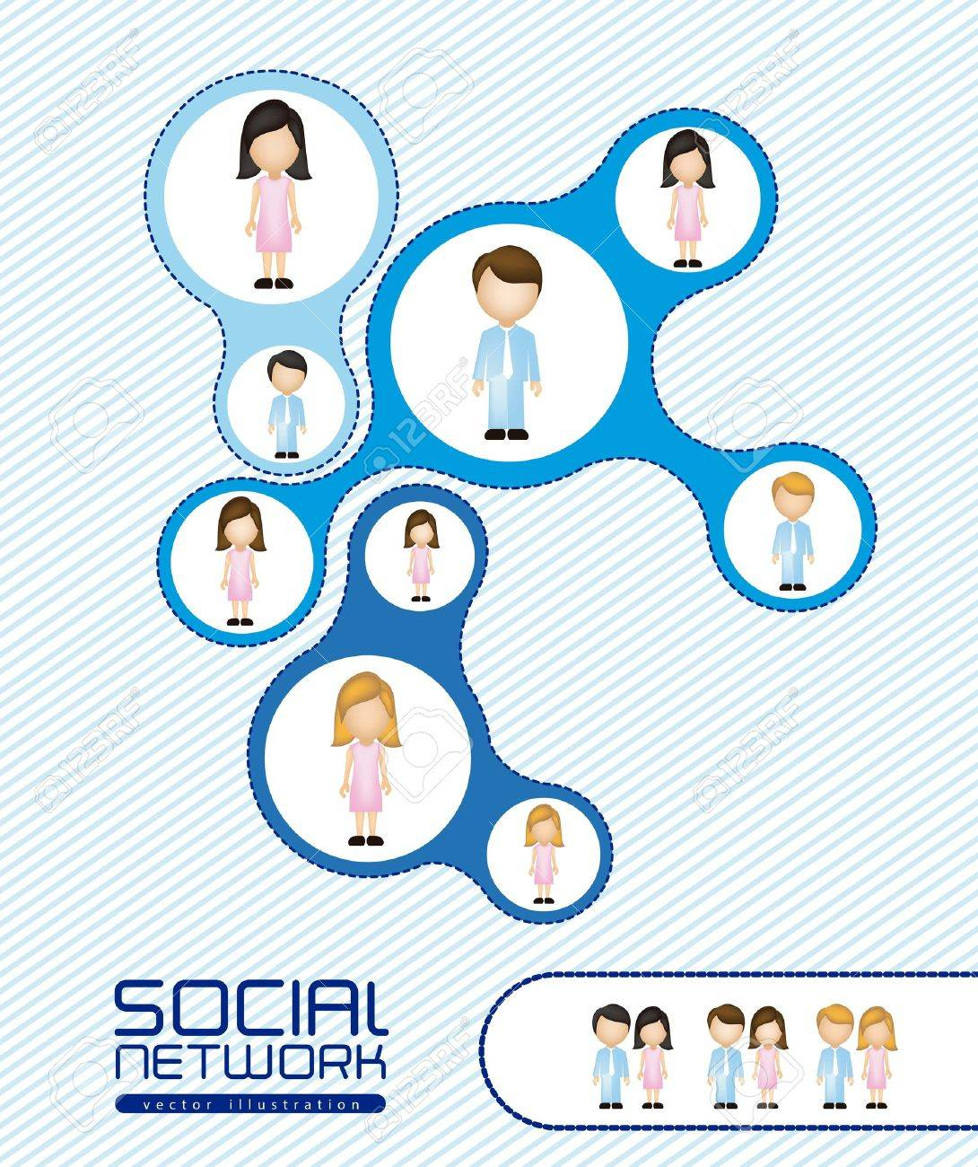 illustration of social networks with characters Stock Vector - 14785761