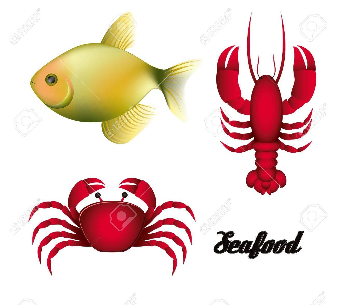 Lobster fishing illustration of sea animals fish crab and lobster illustration