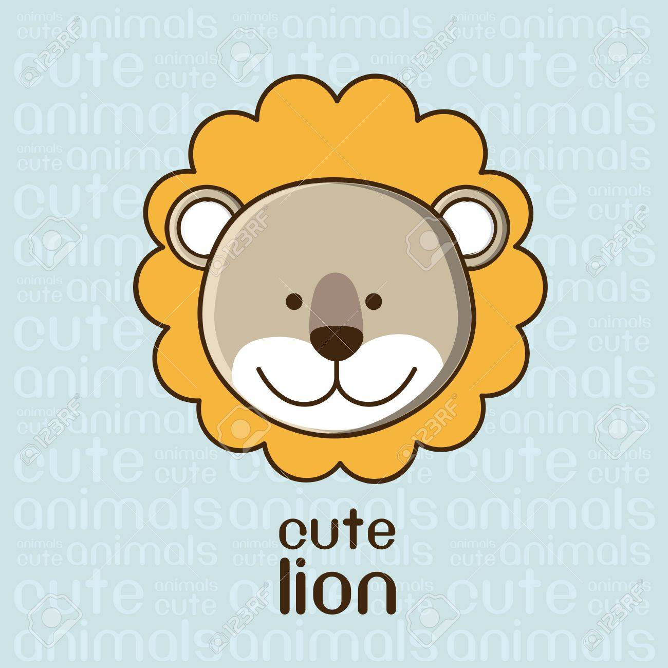 Illustration of a cute lion background, illustration Stock Vector - 15191166