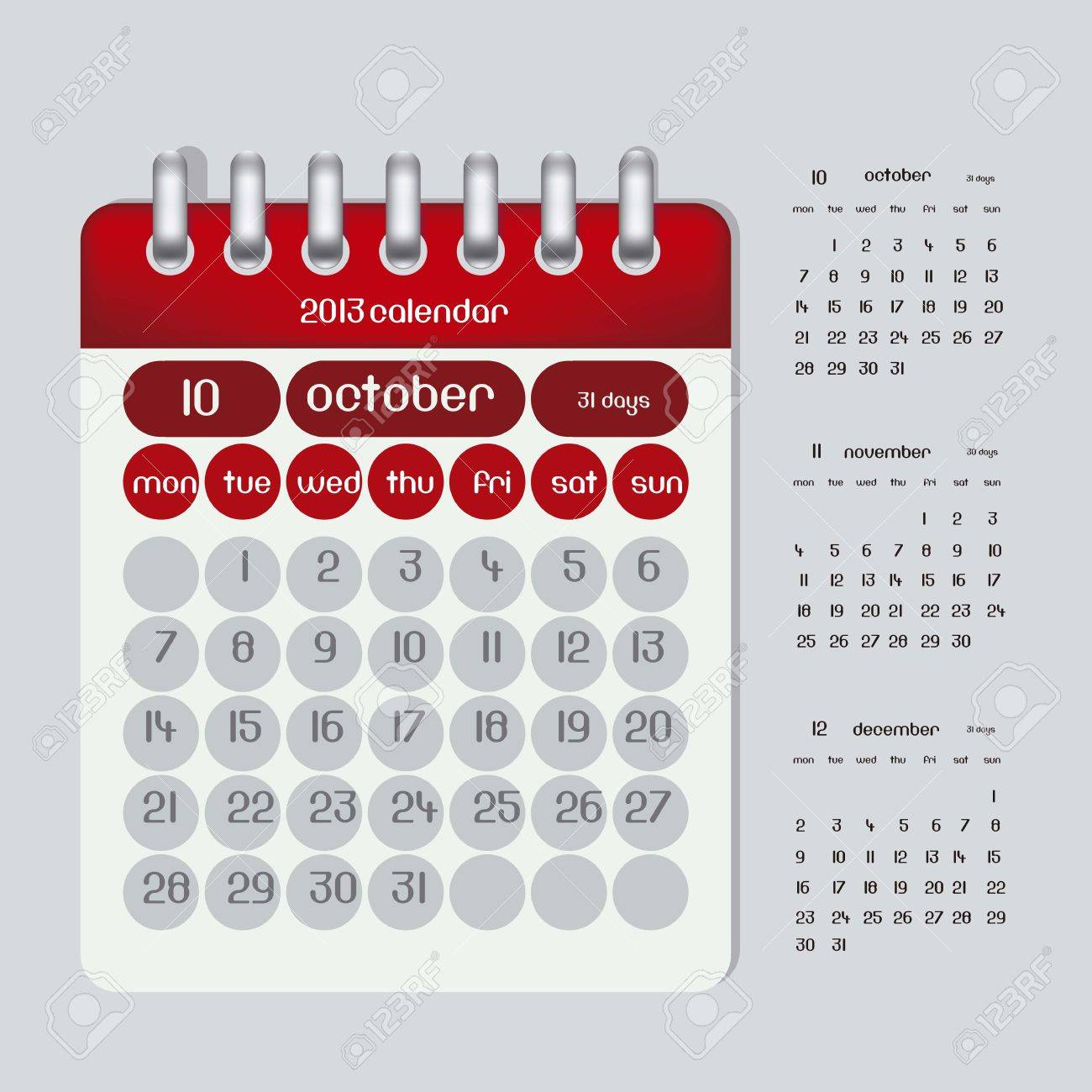 2013 カレンダー イラスト リング10 月11 月と 12 月の図は3 カ月