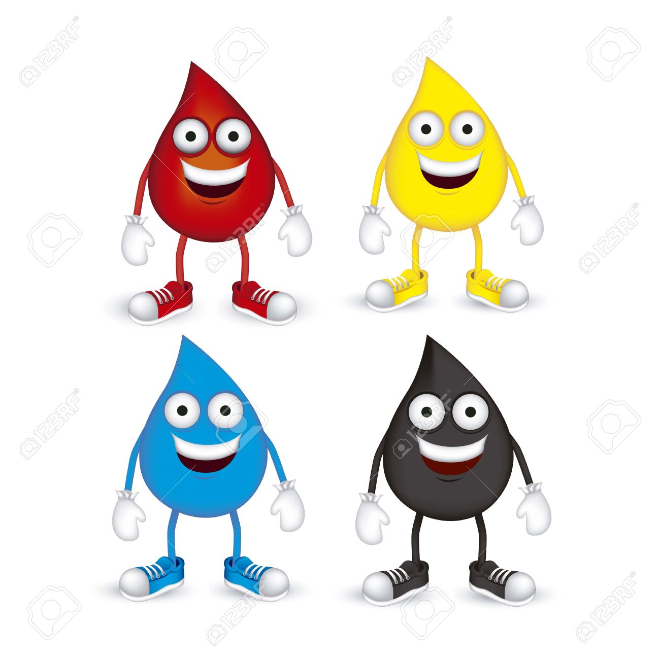 Illustration of blood, oil, petroleum and water drops, with shoes and gloves, vector illustration Stock Vector - 14946438