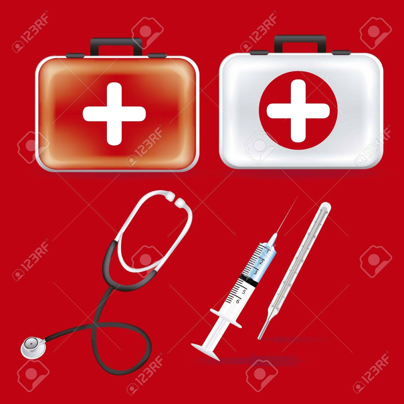 illustration of icons of health, first aid kit, stethoscope, pace, heart, thermometer, vector illustration Stock Vector - 15084069
