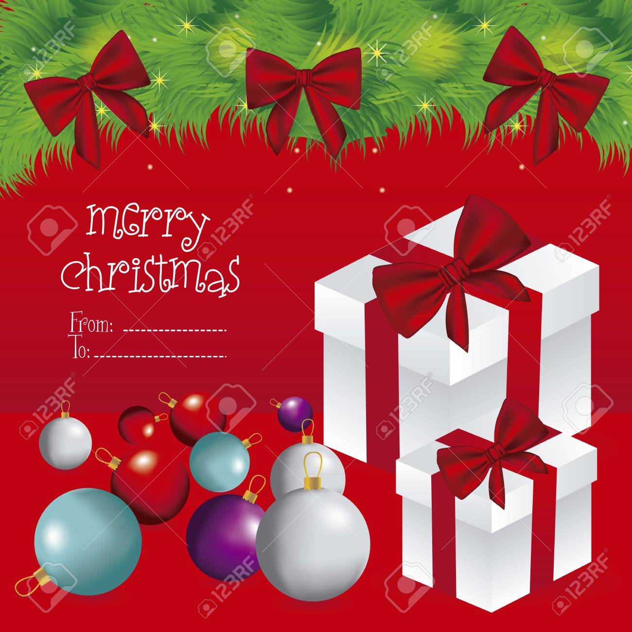 illustration of white gift box with red ribbon and christmas balls, vector illustration Stock Vector - 15083900
