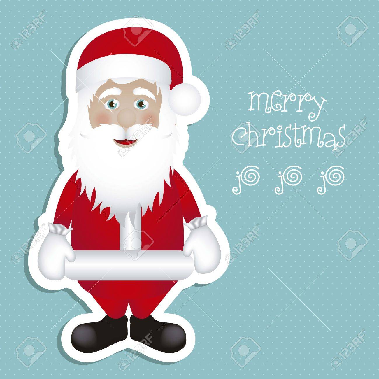 Illustration of Santa Claus isolated on blue background, vector illustration Stock Vector - 15083974