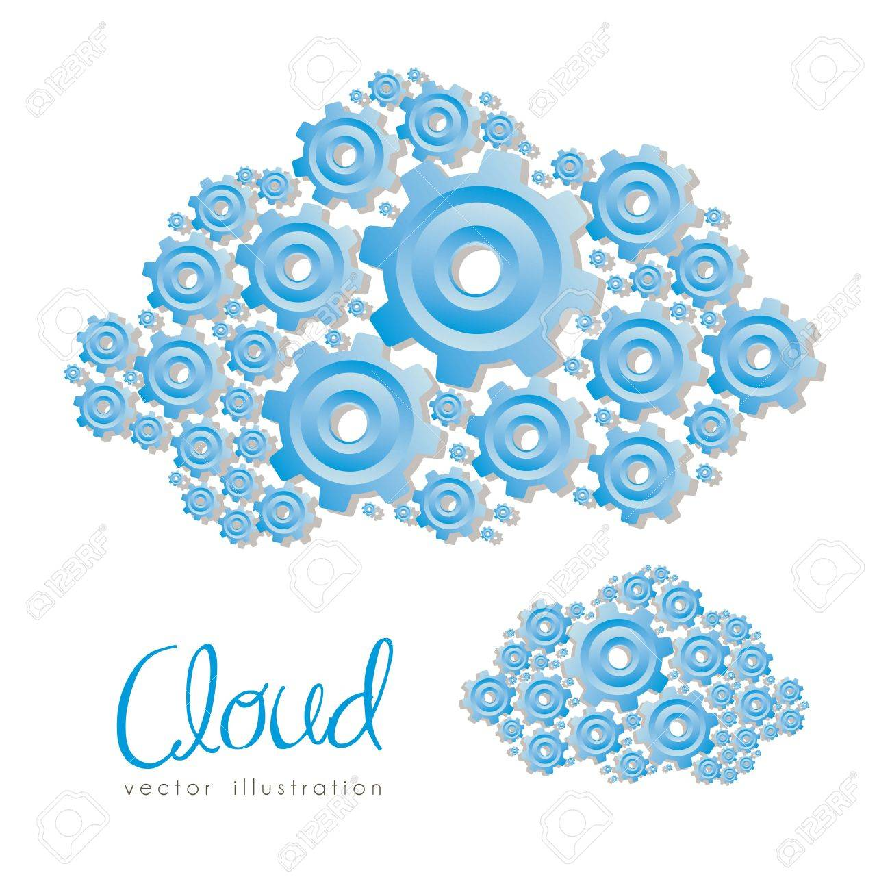 illustration of clouds formed with blue gear, vector illustration Stock Vector - 15271839