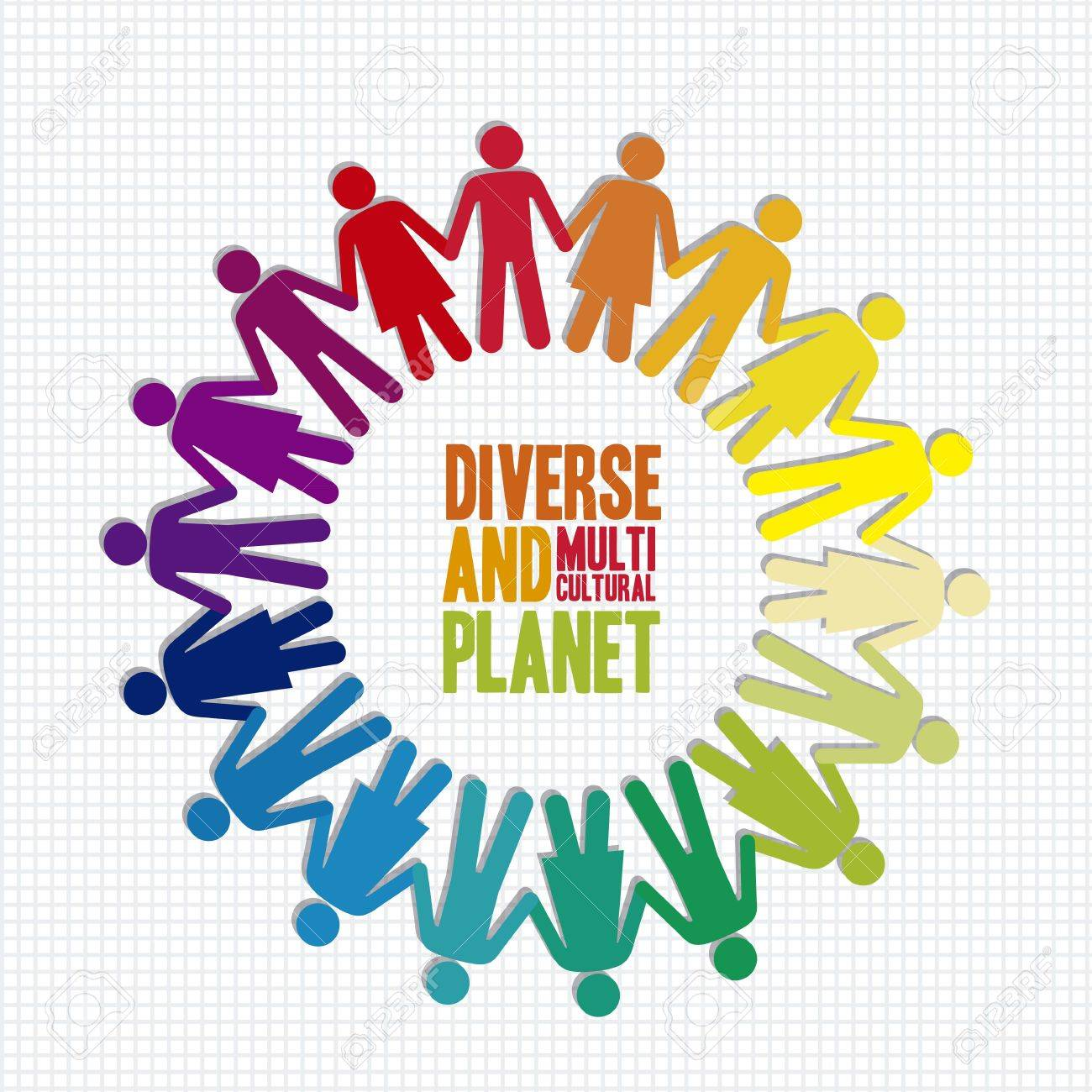 illustration of diverse and multicultural people in the planet, vector illustration Stock Vector - 15271612