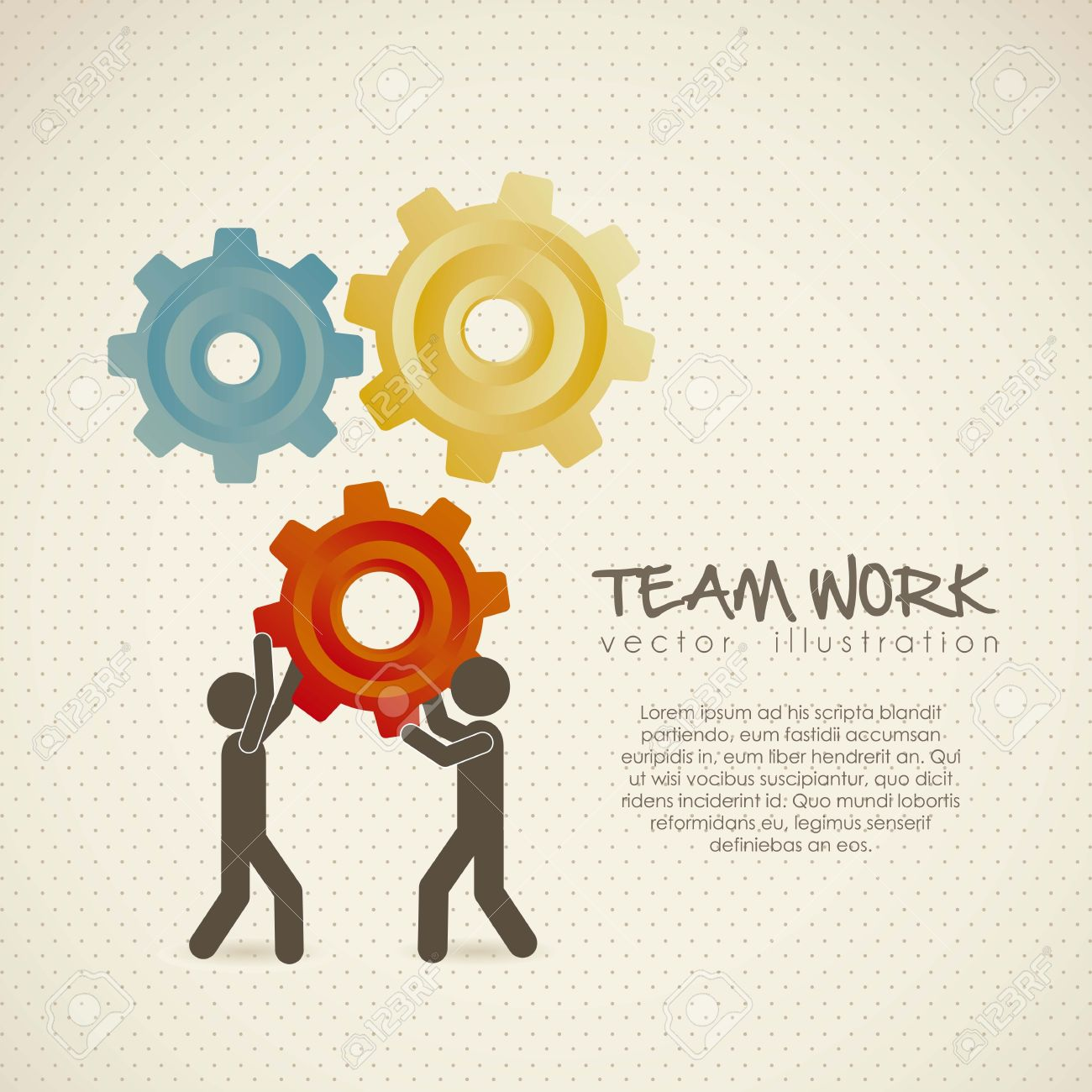Illustration of silhouettes with gears, team work, Vector Illustration Stock Vector - 15271607