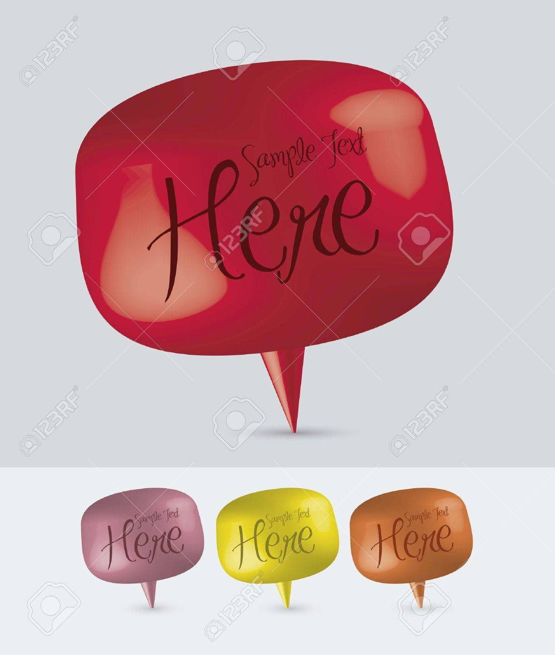 illustration of colorful text balloons, 3D, vector illustration Stock Vector - 15309417