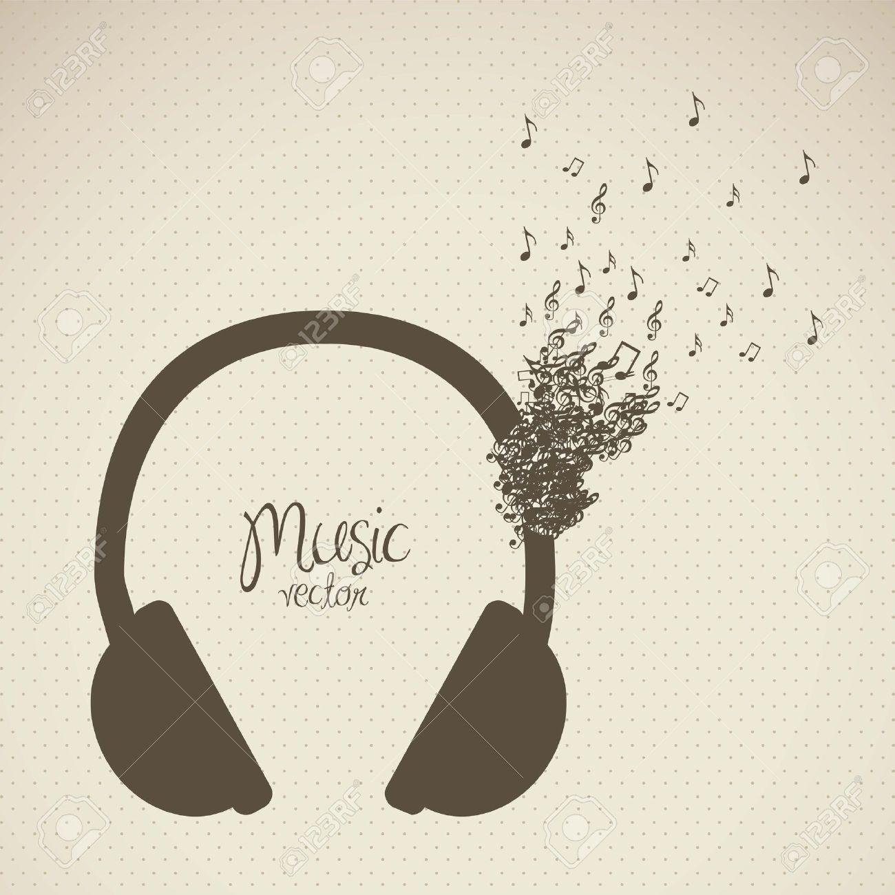 Ilustración De Auriculares Formadas Con Pequeñas Notas Musicales