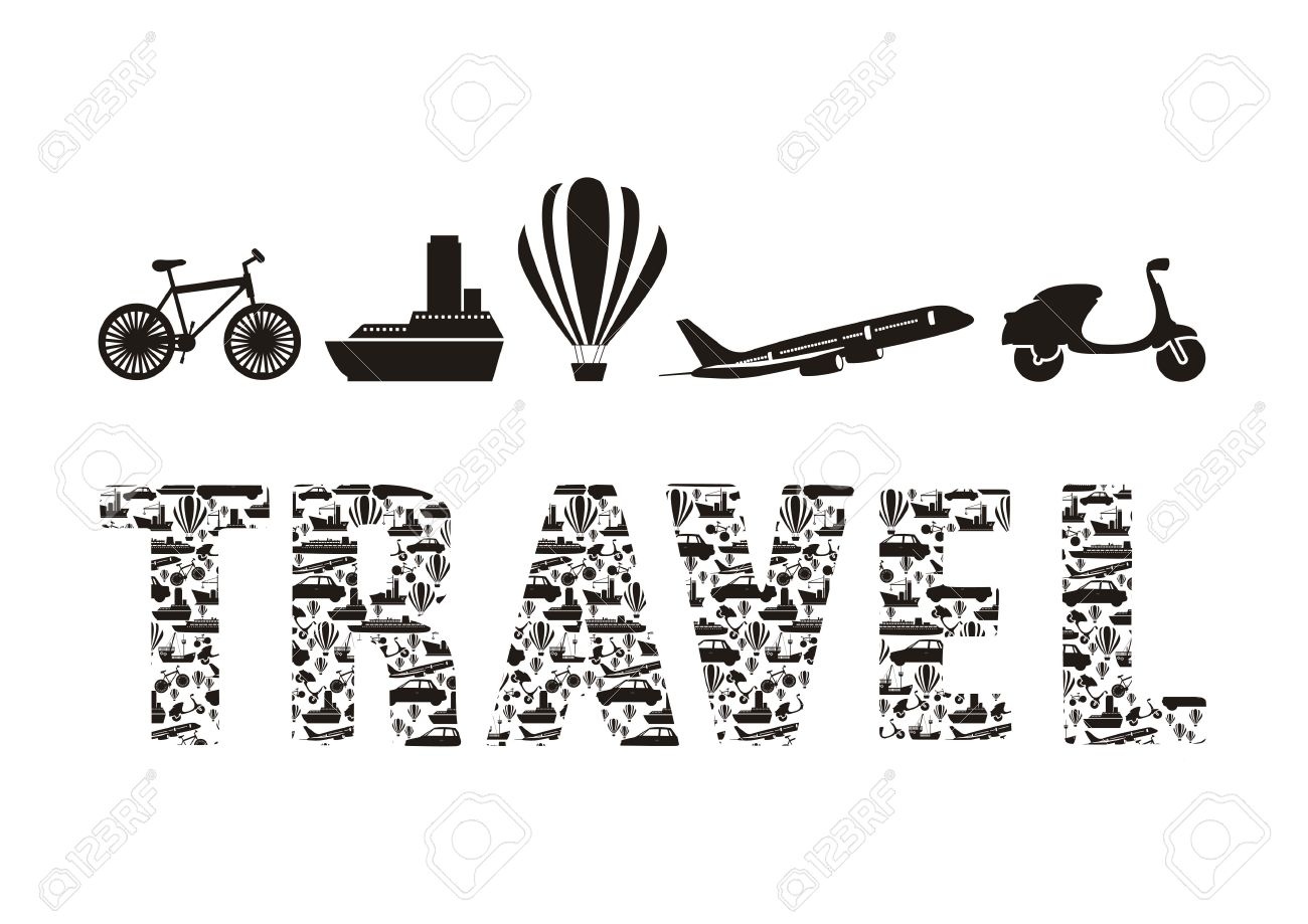 illustration of the word travel formed with transportation icons