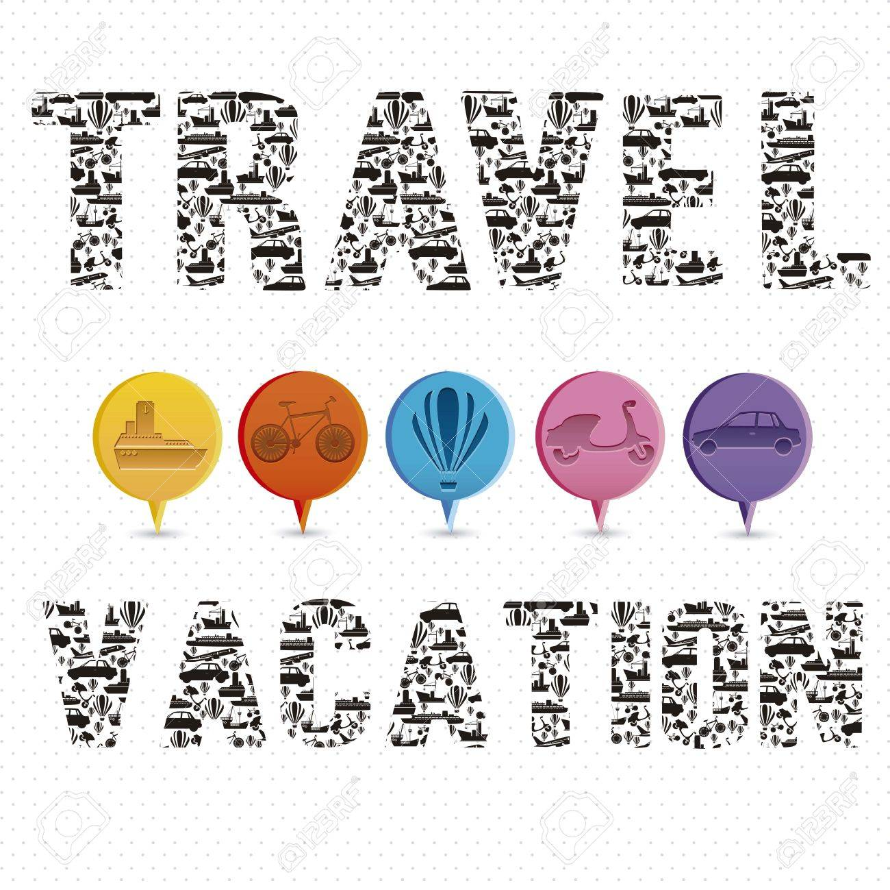 Illustration of the words vacation and travel, formed with transportation icons, vector illustration Stock Vector - 15309418