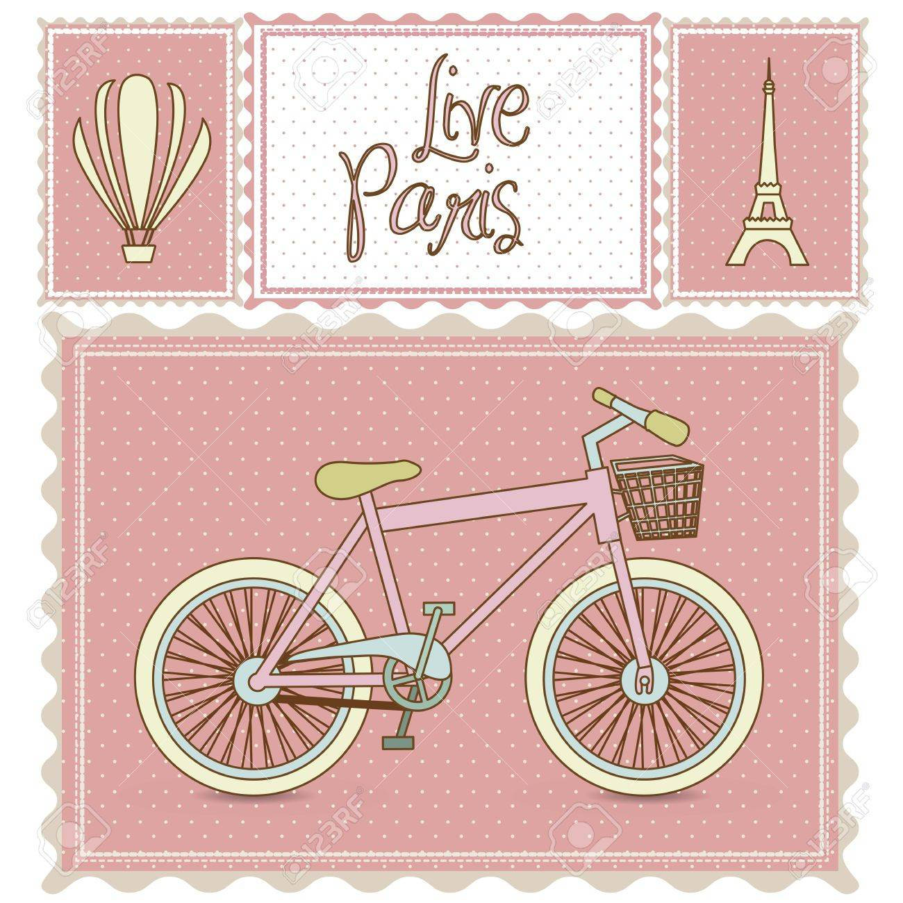postal bike trip, and illustrations of Paris, vector illustration Stock Vector - 15309073
