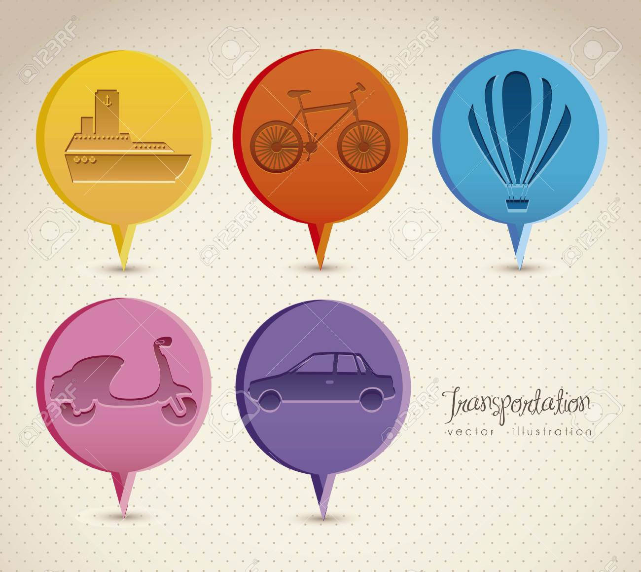 Illustration of transportation icons around the world, vector illustration Stock Vector - 15309057
