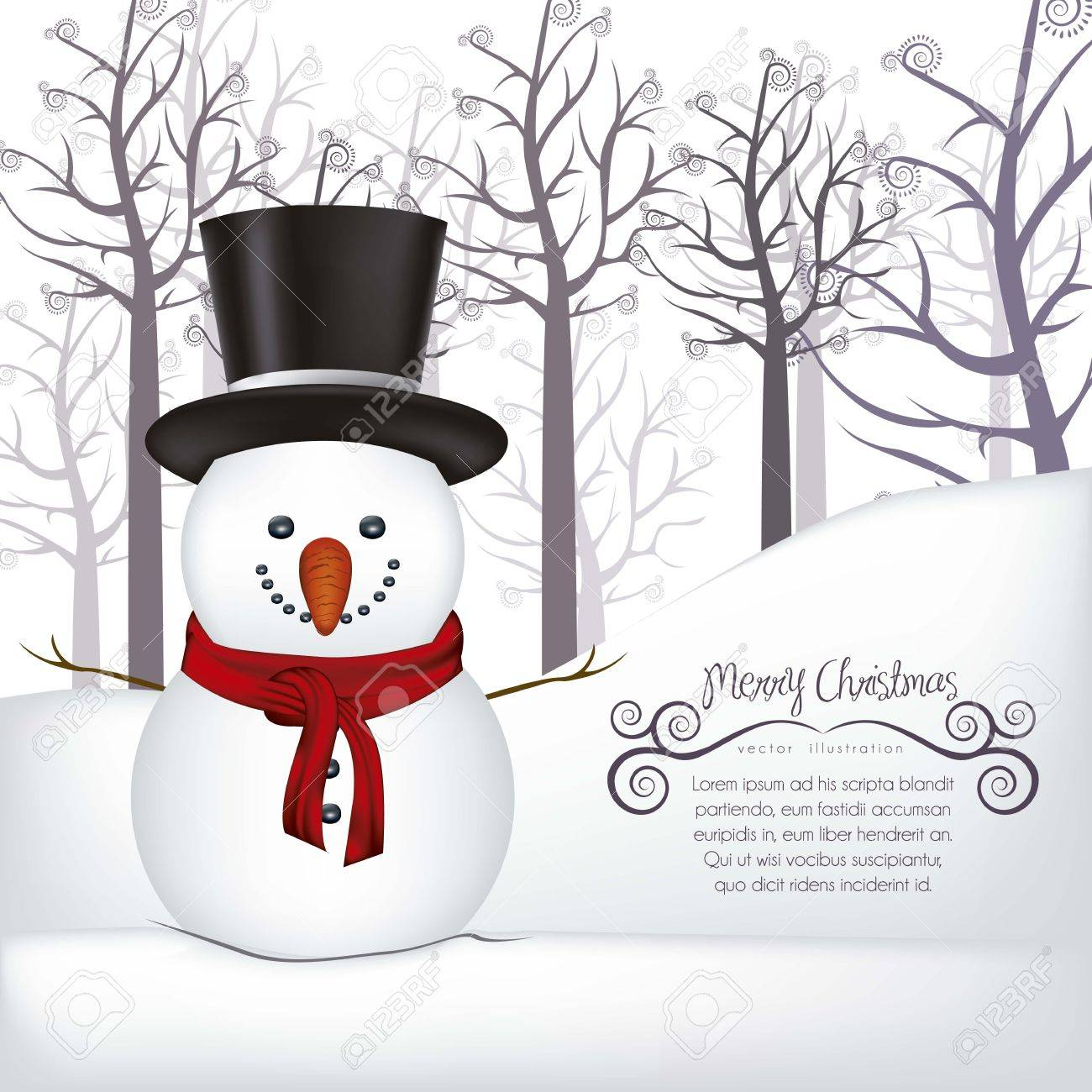 illustration of snowman, on a background of snow and trees, vector illustration Stock Vector - 15355787