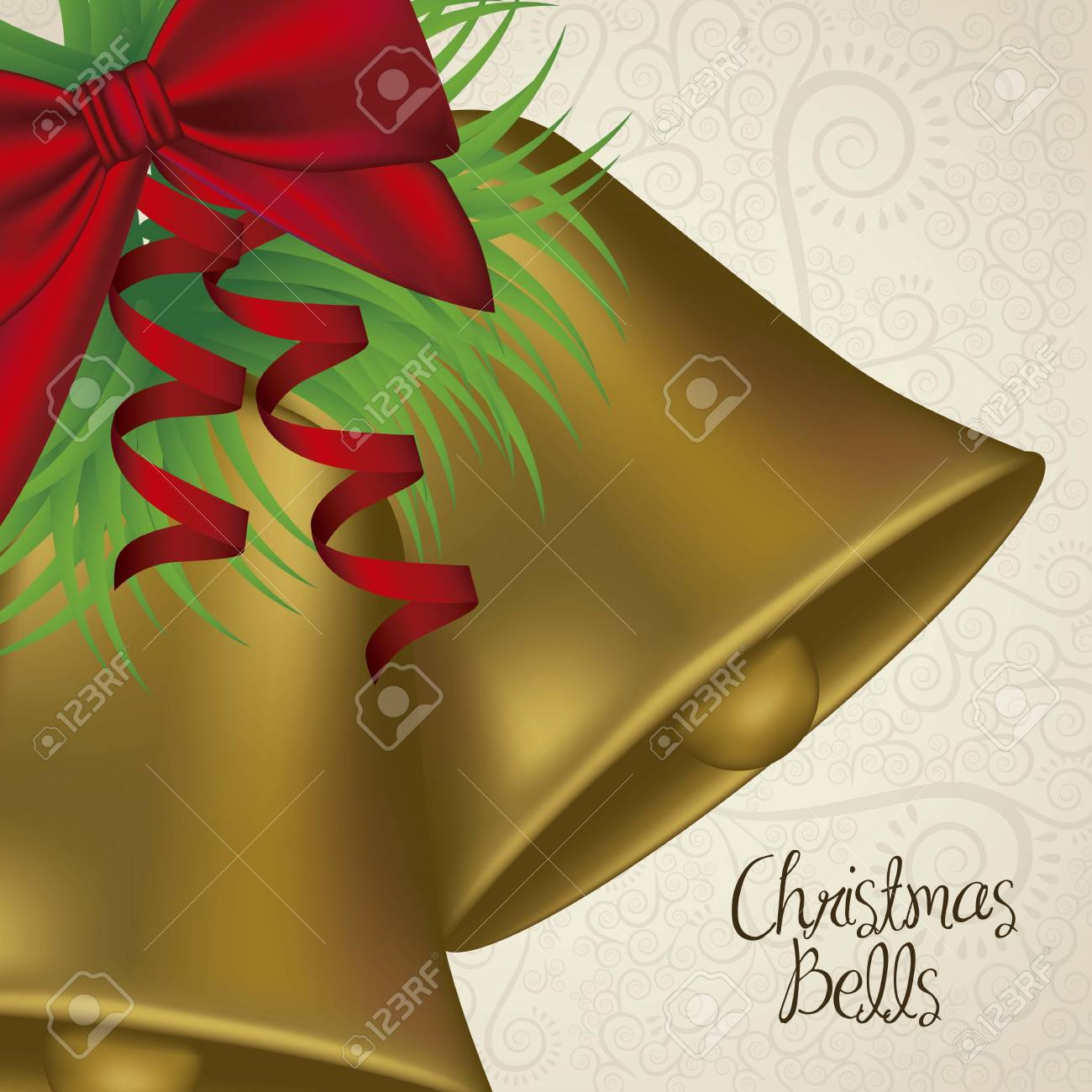 illustration of christmas golden bells with red ribbon, vector illustration Stock Vector - 15355741