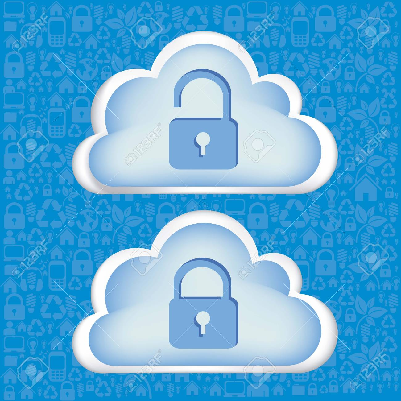 illustration of cloud technology locked, network security, vector illustration Stock Vector - 15564294