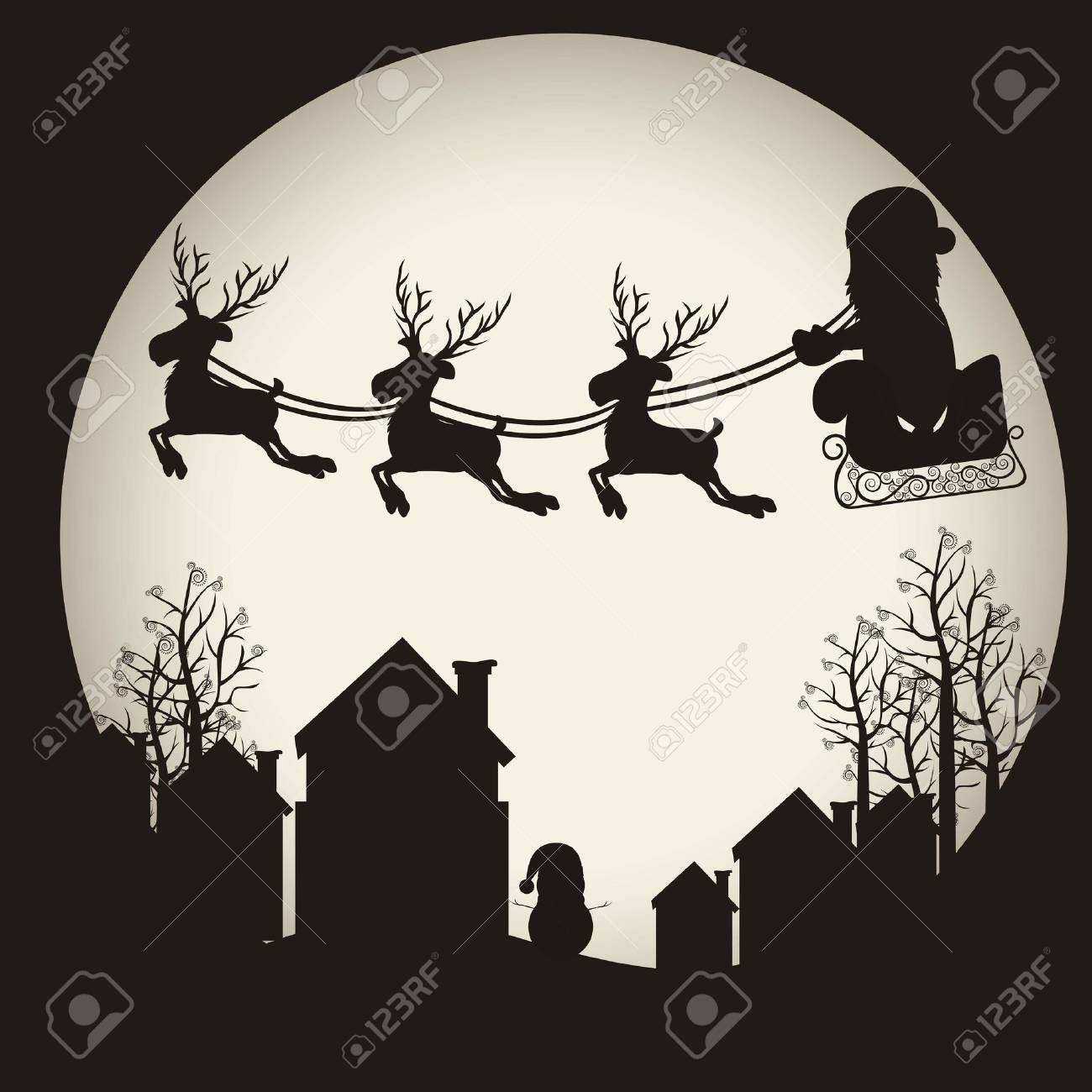 illustration of santa with sleigh and reindeer, on the eve of Christmas, illustration Vector Stock Vector - 15564140