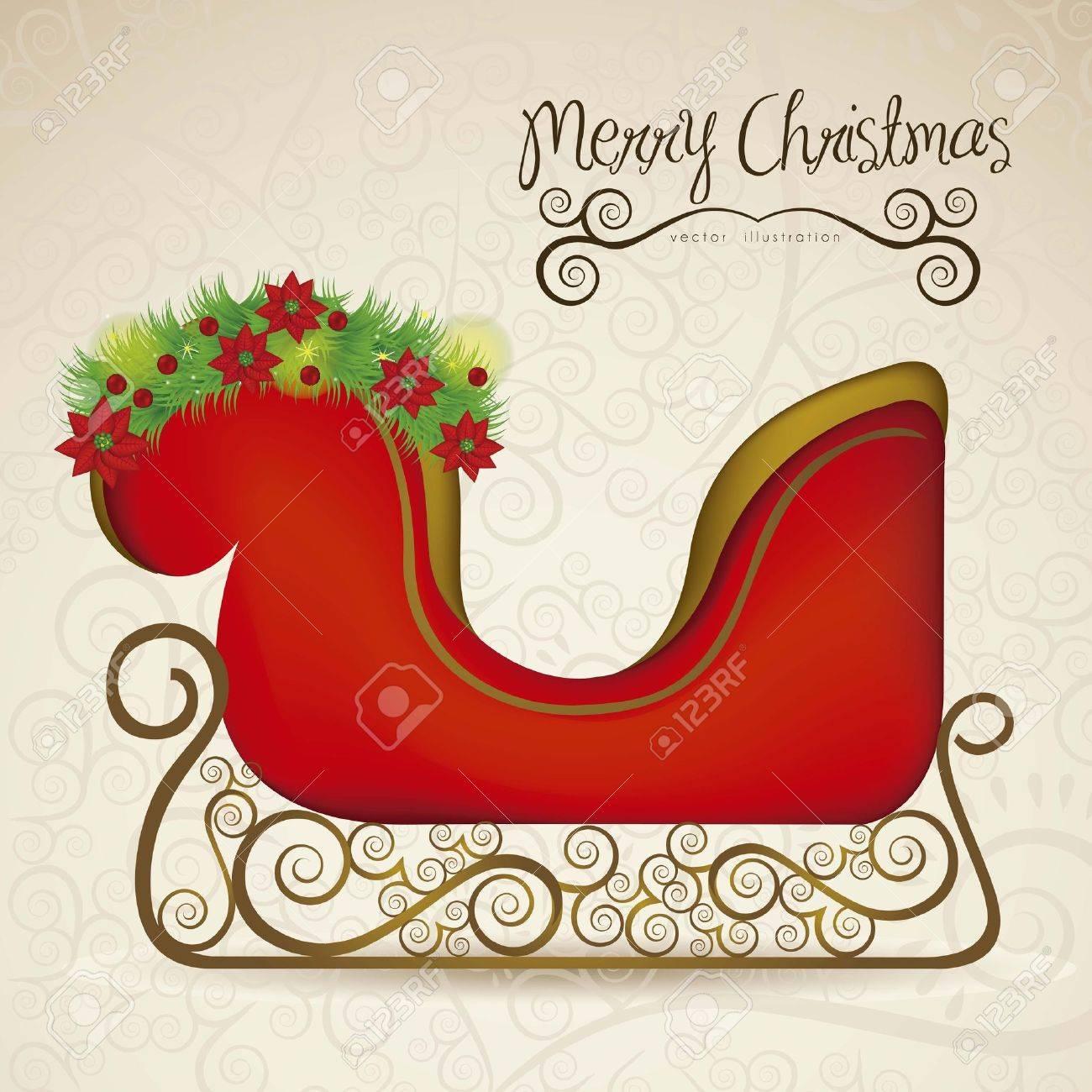 illustration of  sleigh , on arabesque background, illustration Vector Stock Vector - 15564264
