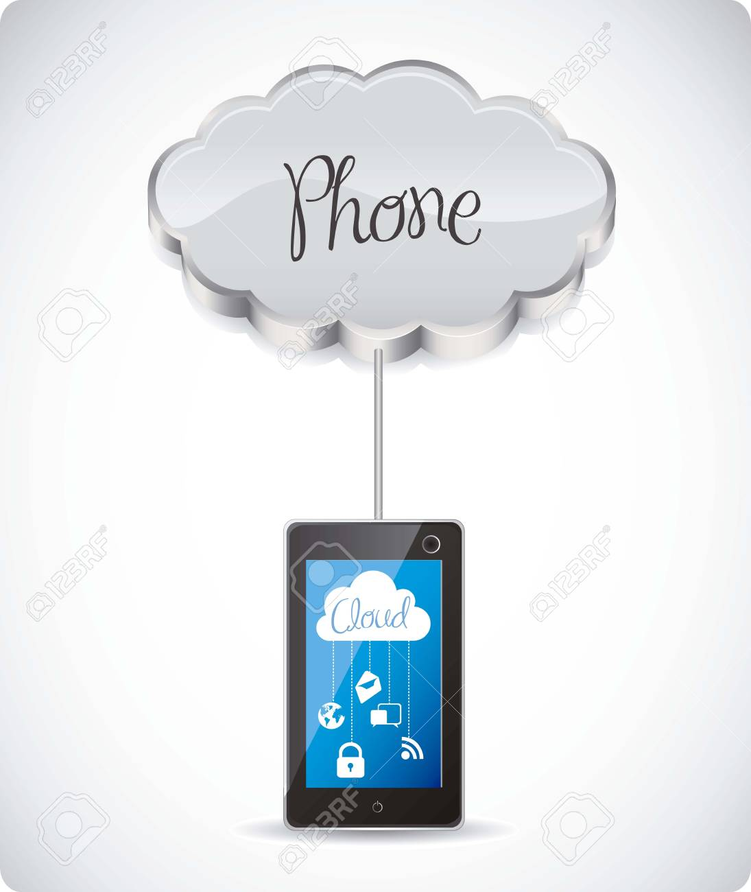 illustration of cloud computers and communications technology, vector illustration Stock Vector - 15675241