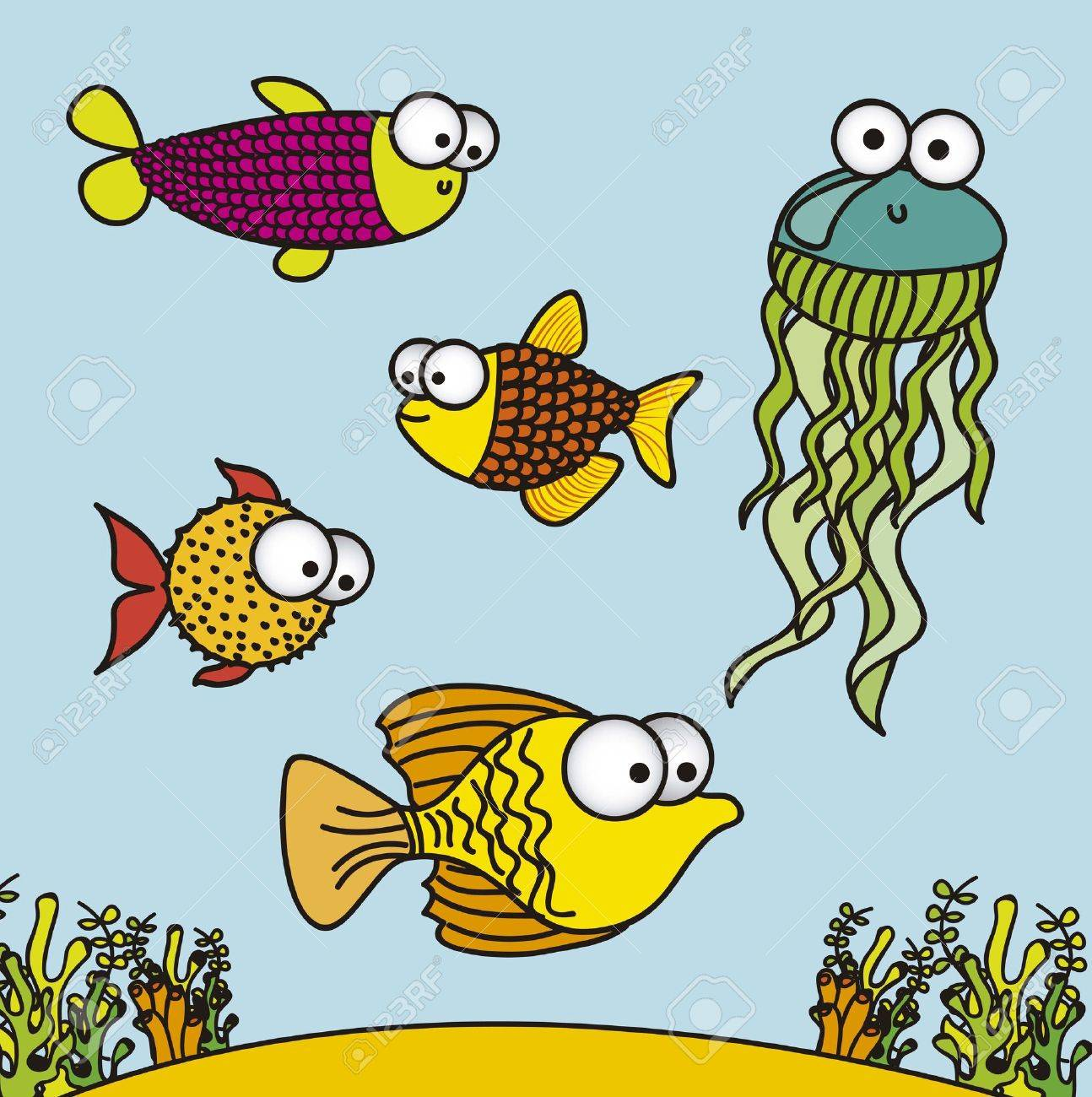 illustration of fish drawings aquatic animals vector