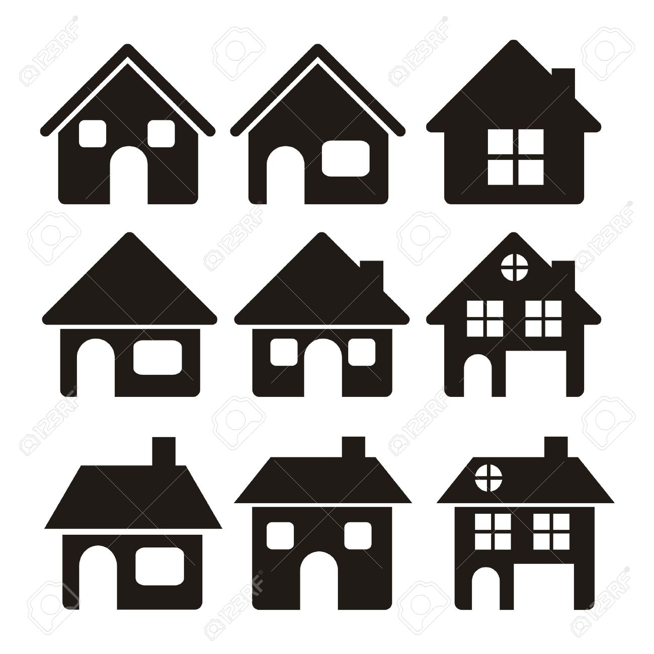 illustration of home icons house silhouettes on white background rh 123rf com old house silhouette vector old house silhouette vector