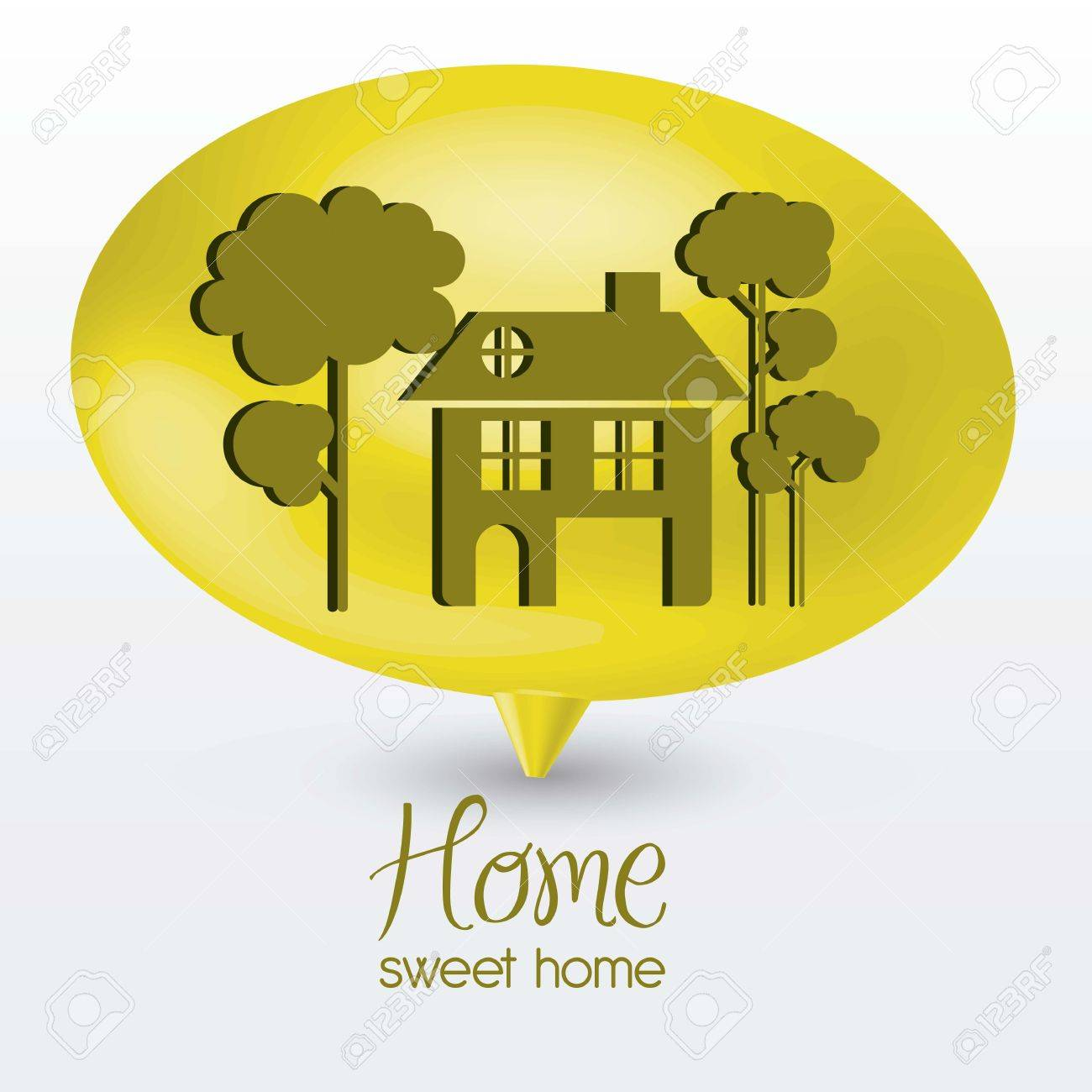 Illustration of home icon on text balloons, house silhouettes on white background, vector illustration Stock Vector - 15794492