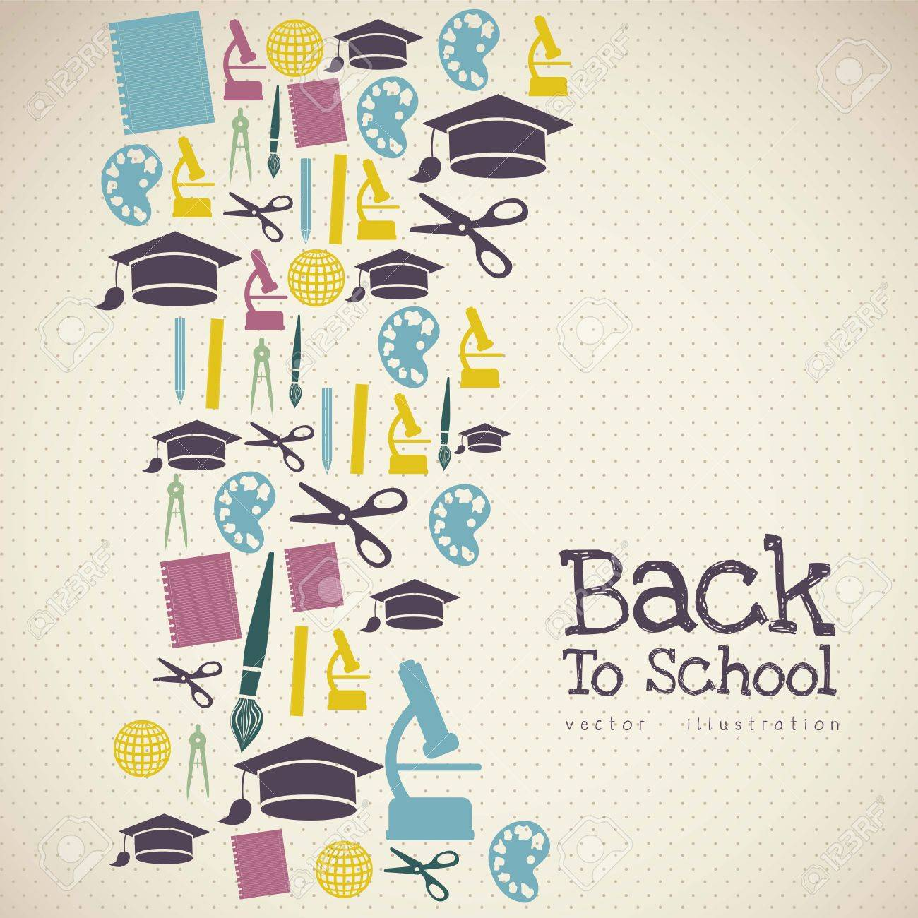 Illustration of school icons, student icons, back to class. - 16126435
