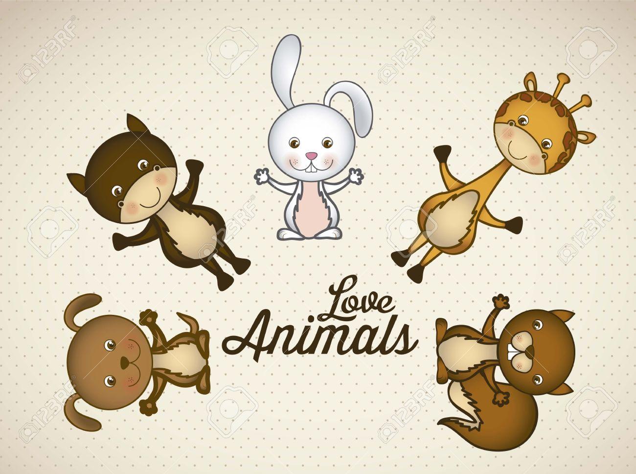 キリン、ウサギ、リス、馬、犬の動物アイコン イラストのイラスト