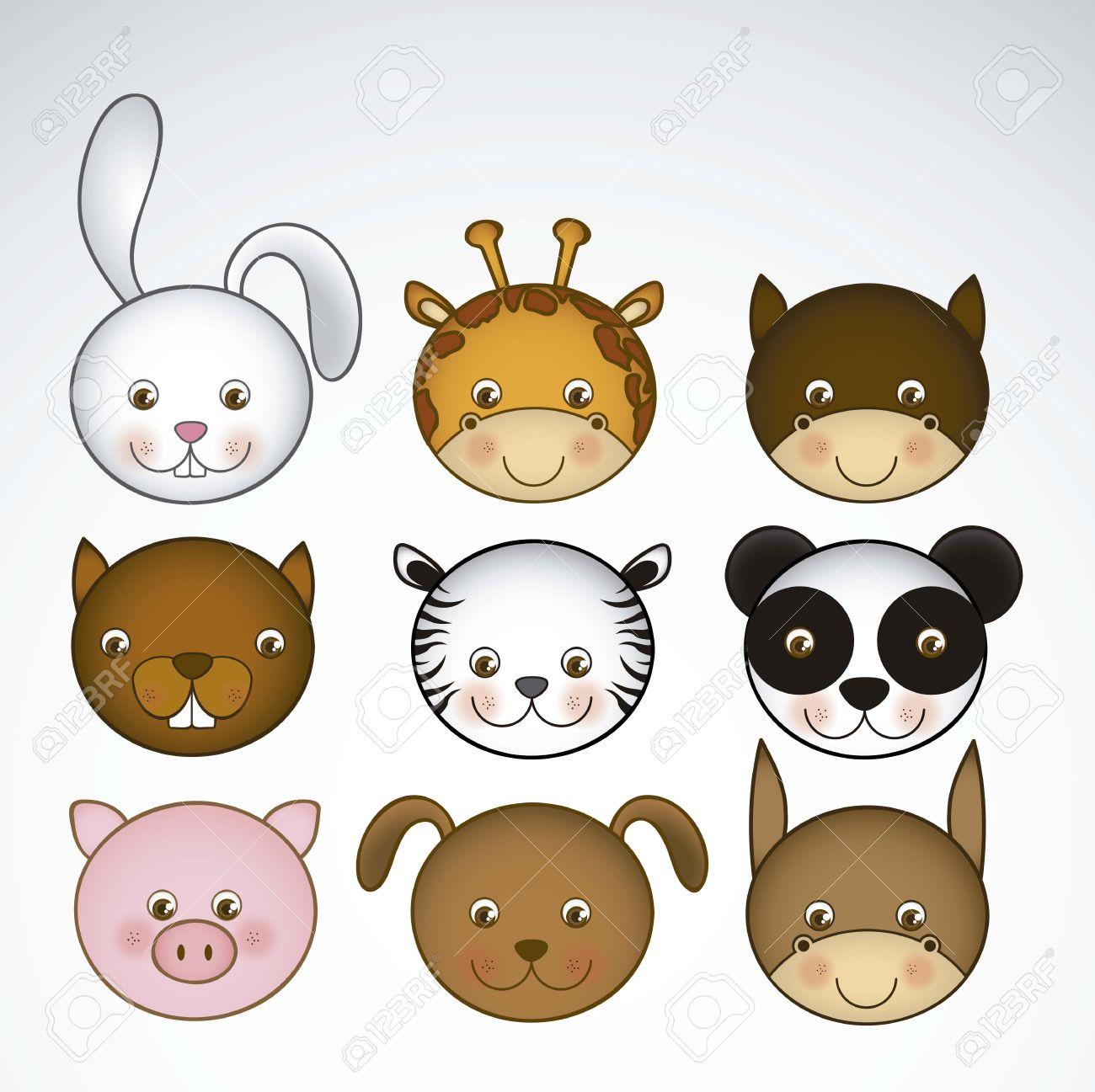 キリン、ウサギ、リス、馬、ラバ、パンダ、トラ、ブタ、犬の動物アイコン