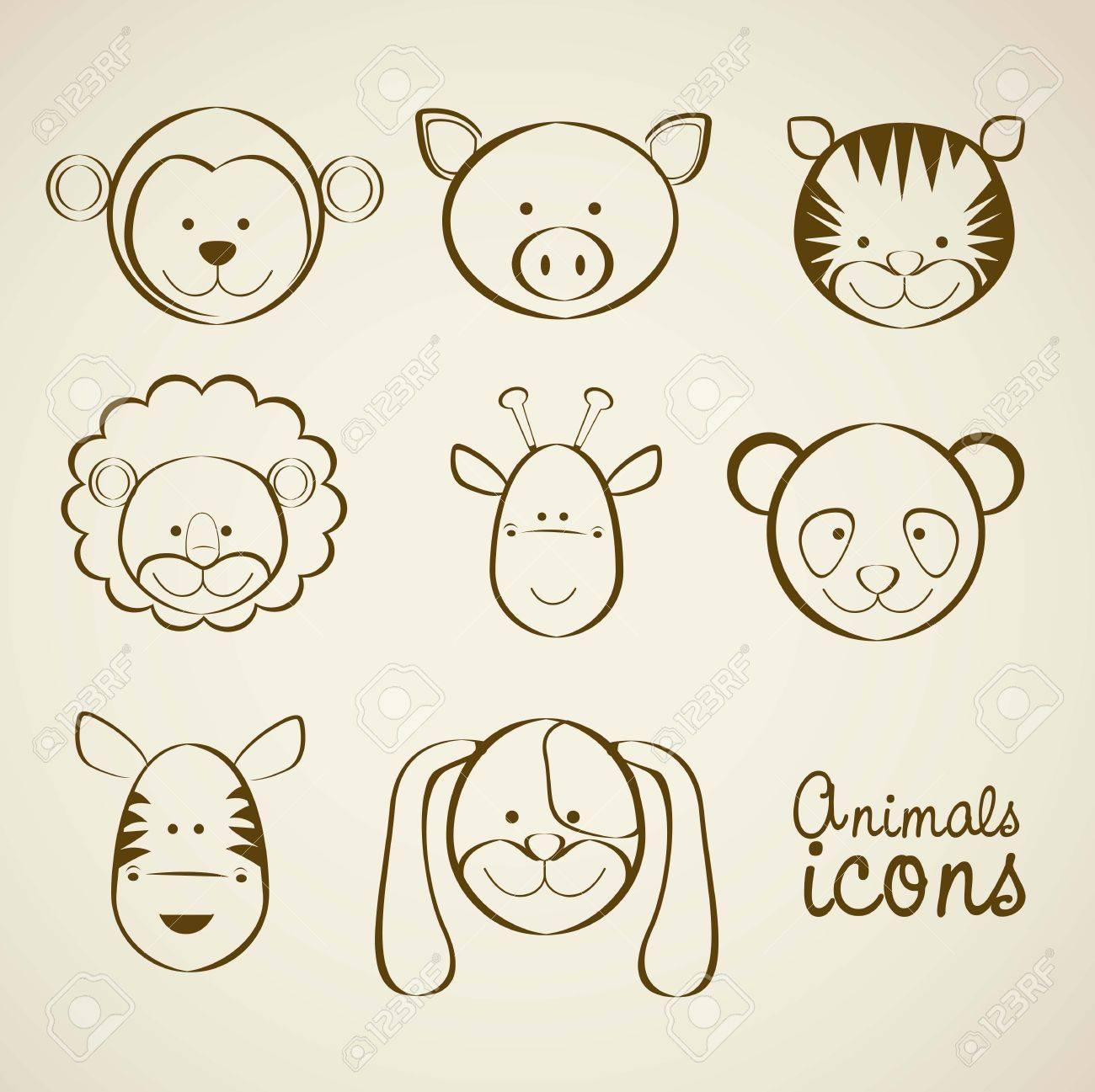 Illustration of animal icons illustration of giraffe, zebra, monkey,  panda, tiger, pig, dog, lion. Stock Vector - 16126095