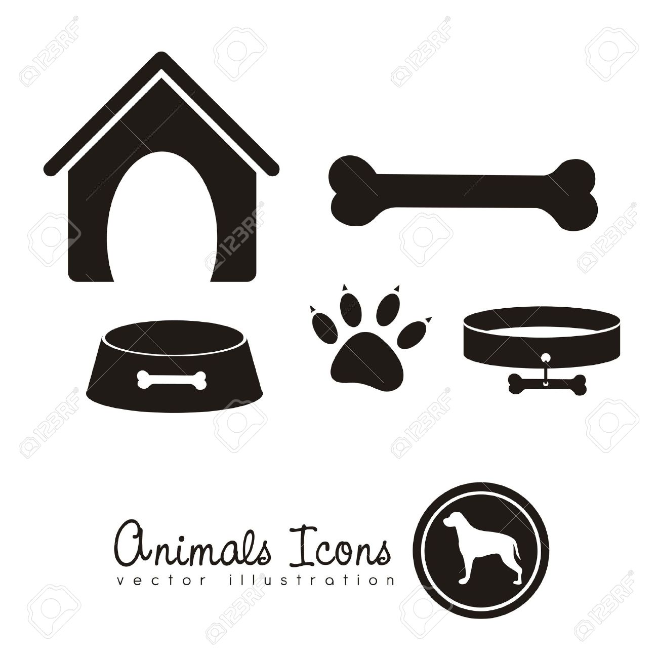 Illustration of animal icons, icons with animal silhouettes. - 16126070