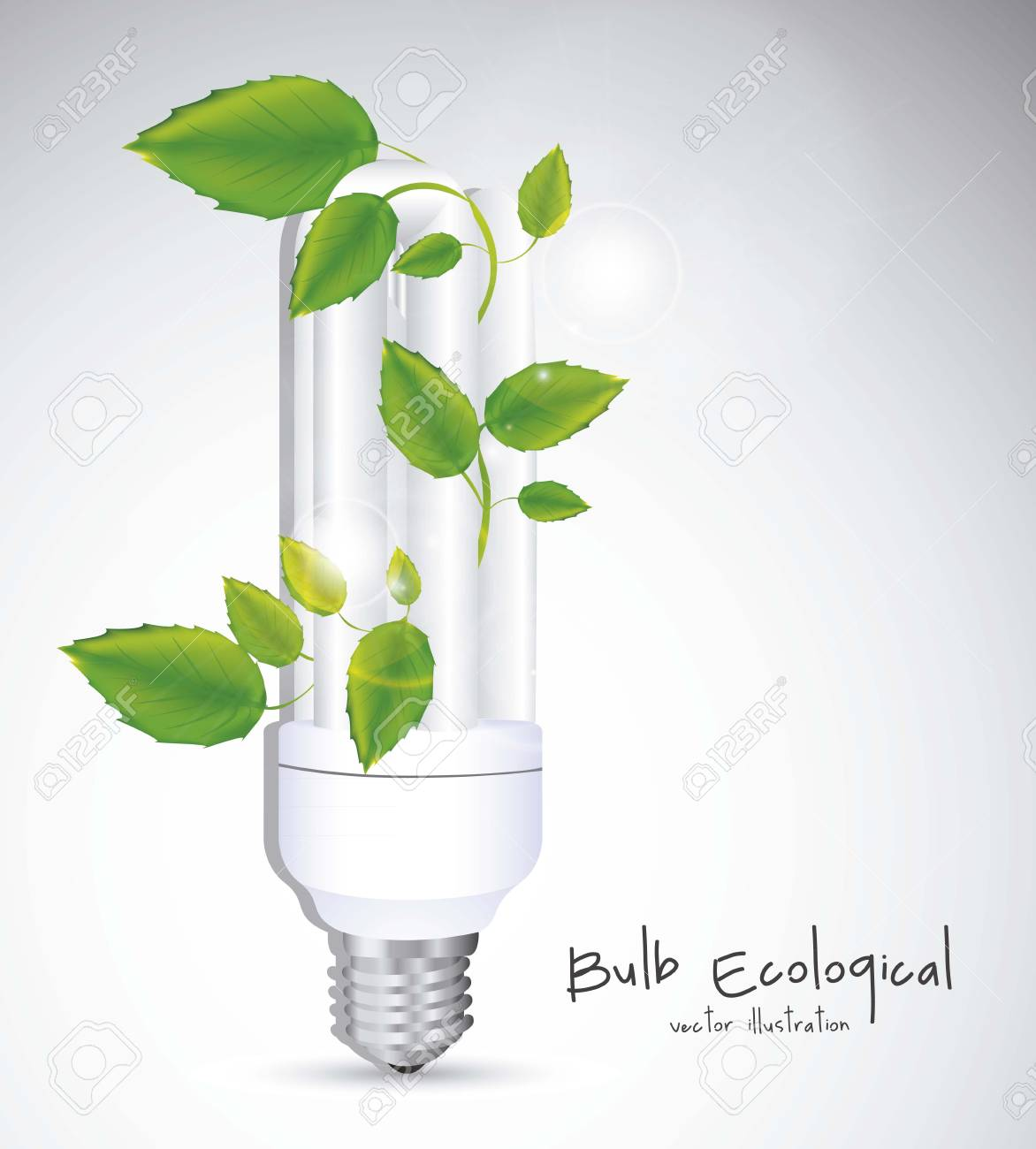 Illustration of eco bulb surrounded by plants and leaves, vector illustration Stock Vector - 16819424