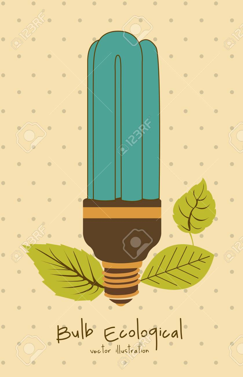 Illustration of eco bulb surrounded by plants and leaves, vector illustration Stock Vector - 16818333