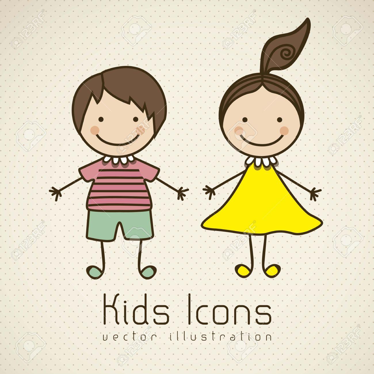 Illustration of kids icons, kids groups, vector illustration Stock Vector - 16819281