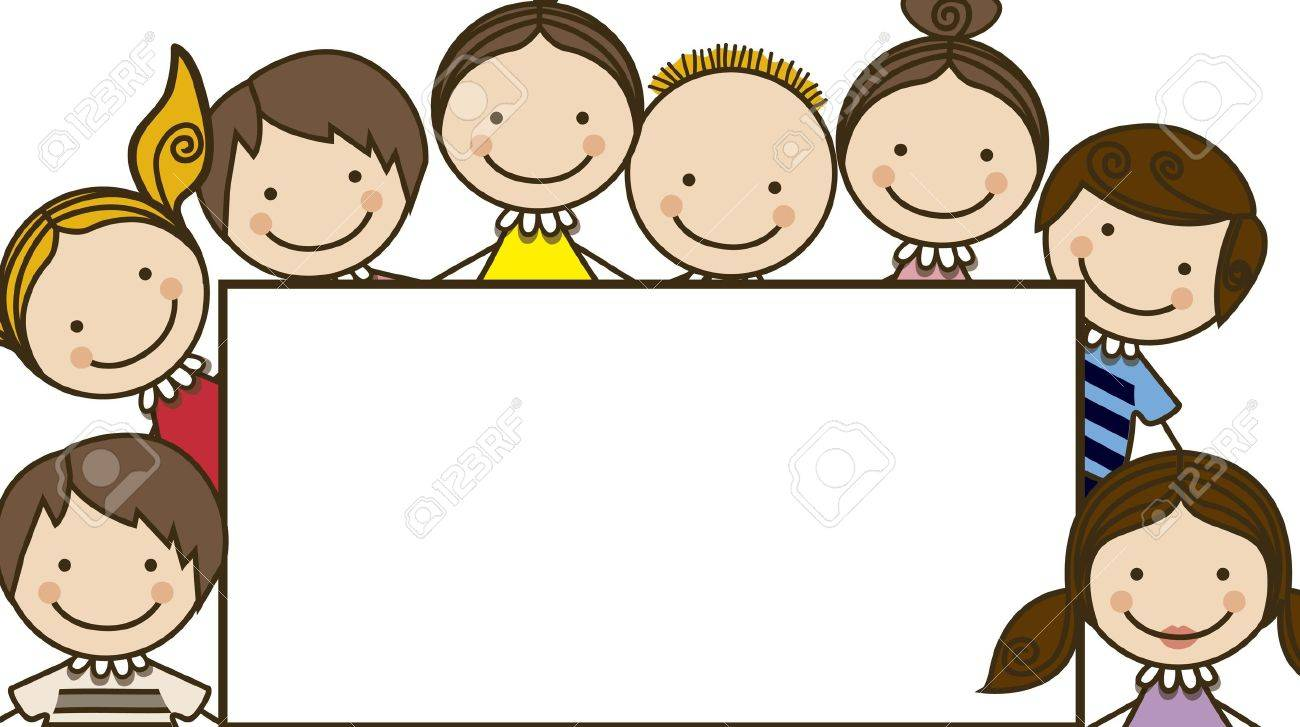 Illustration of kids icons, , Holding a sign, kids groups, vector illustration - 16818799