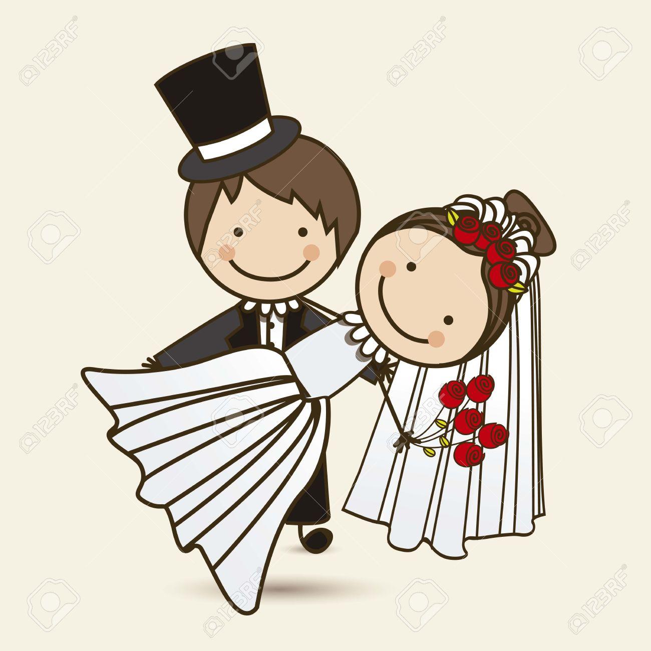 図のベクトル イラストのウェディング ドレスの結婚式のカップル