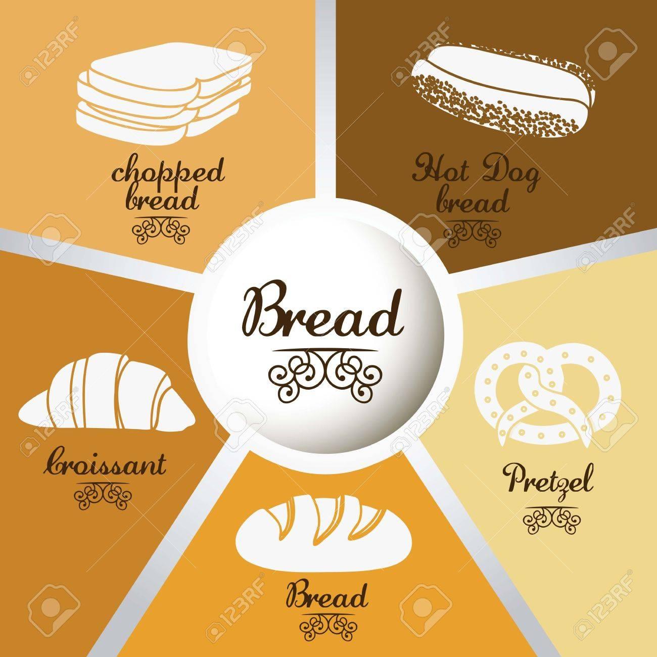 Illustration of  classic bread, croissant, chopped bread, hot dog bread, pretzel. bakery icon, vector illustration Stock Vector - 17004294