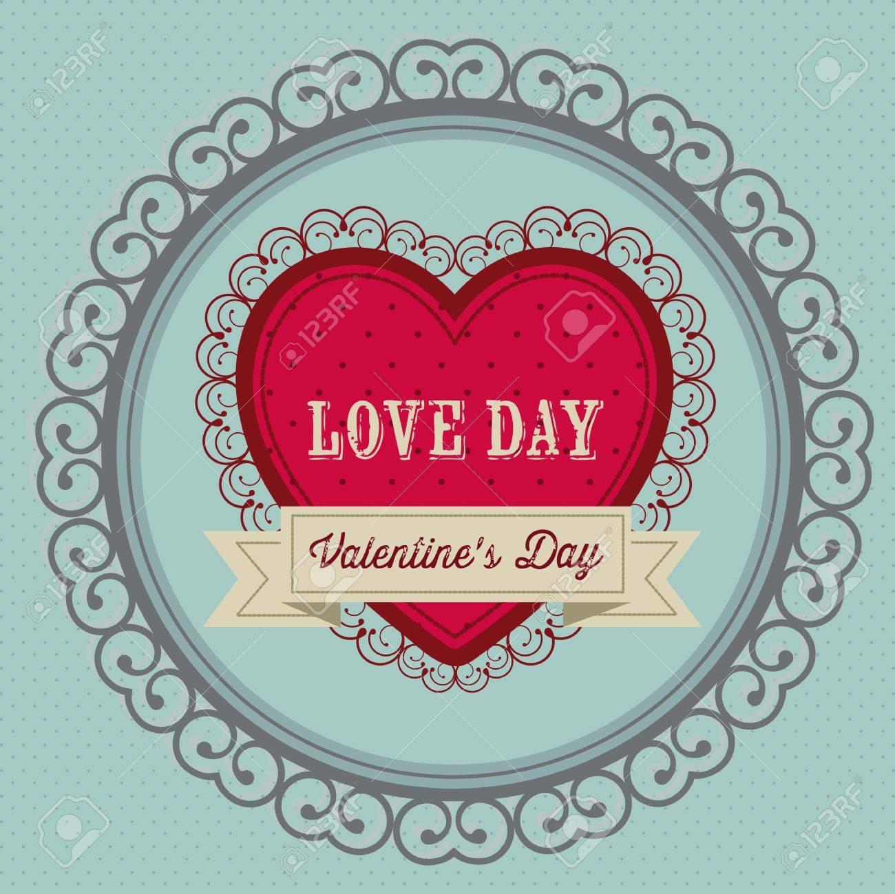 Poster Illustration Der Valentinstag, Der Tag Der Liebe Und Freundschaft,  Vektor Illustration Standard
