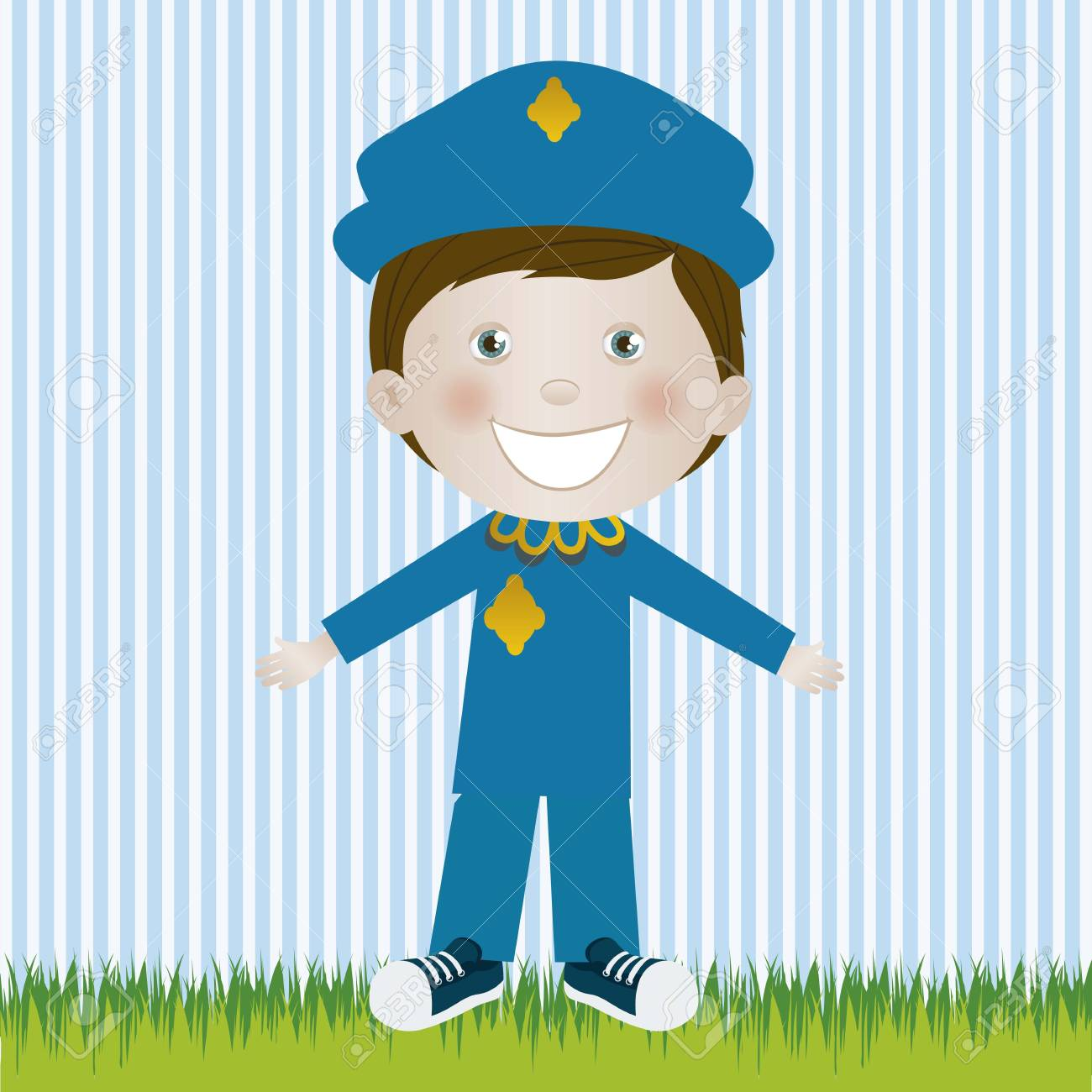 Illustration of police, in cartoon style and sketch, vector illustration Stock Vector - 17432042